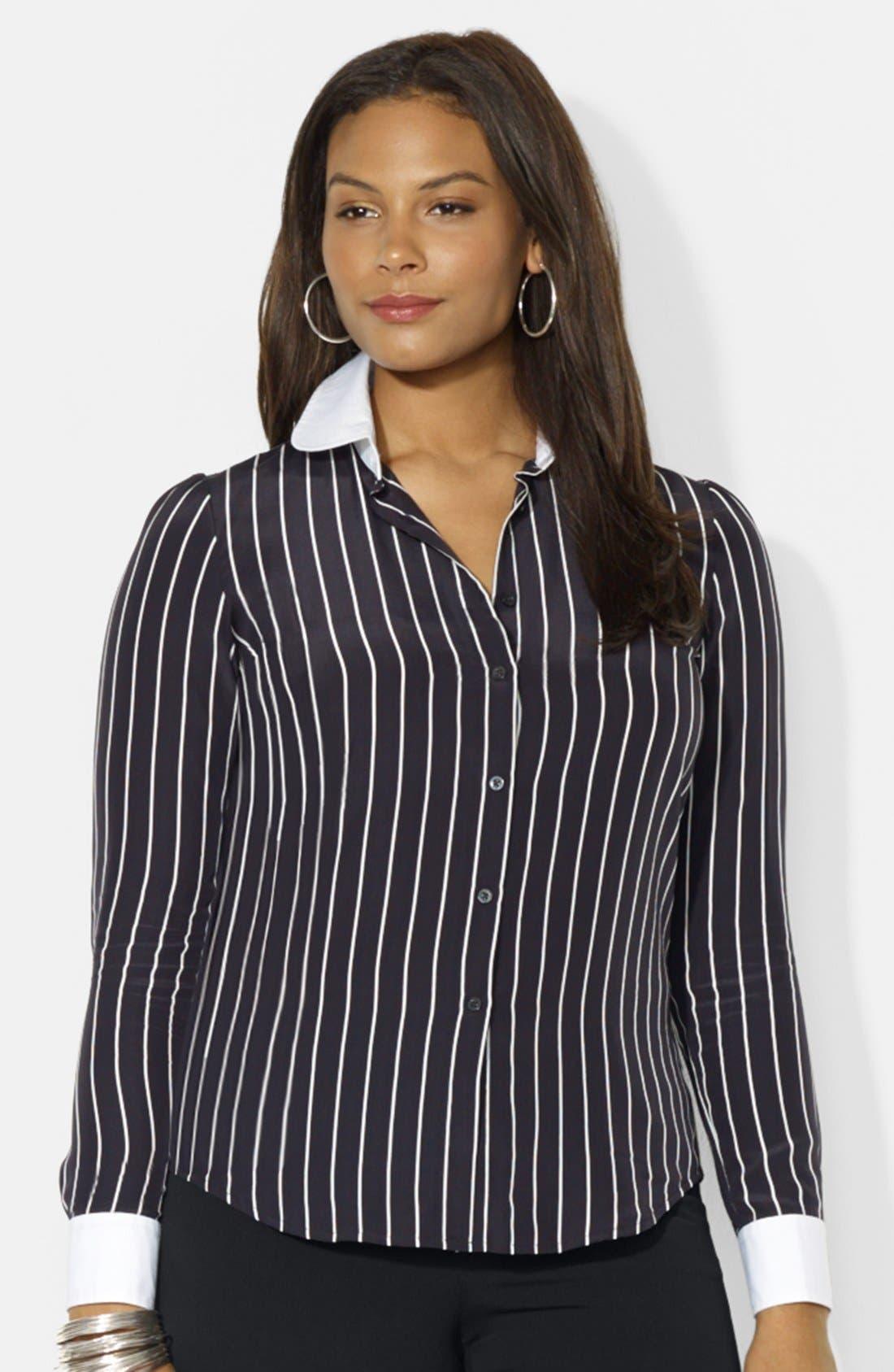 Alternate Image 1 Selected - Lauren Ralph Lauren Long Sleeve Silk Shirt (Plus Size)