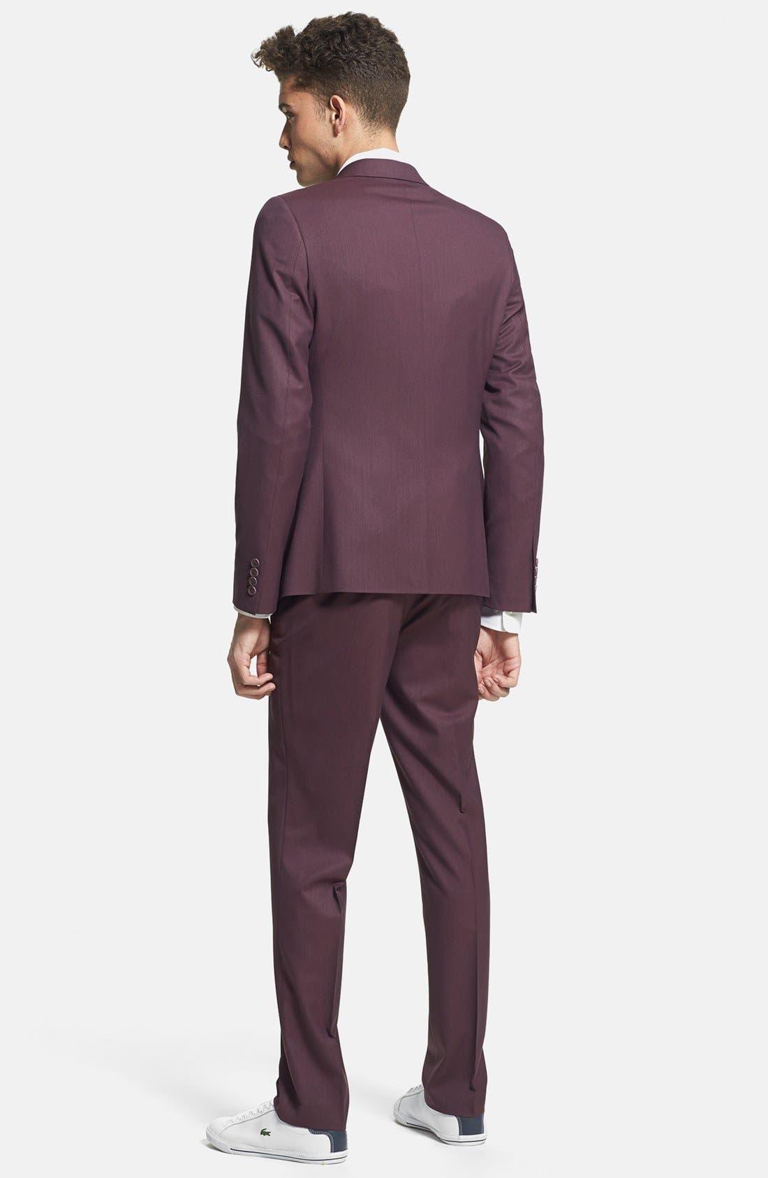 Alternate Image 4  - Topman Skinny Fit Burgundy Suit Jacket