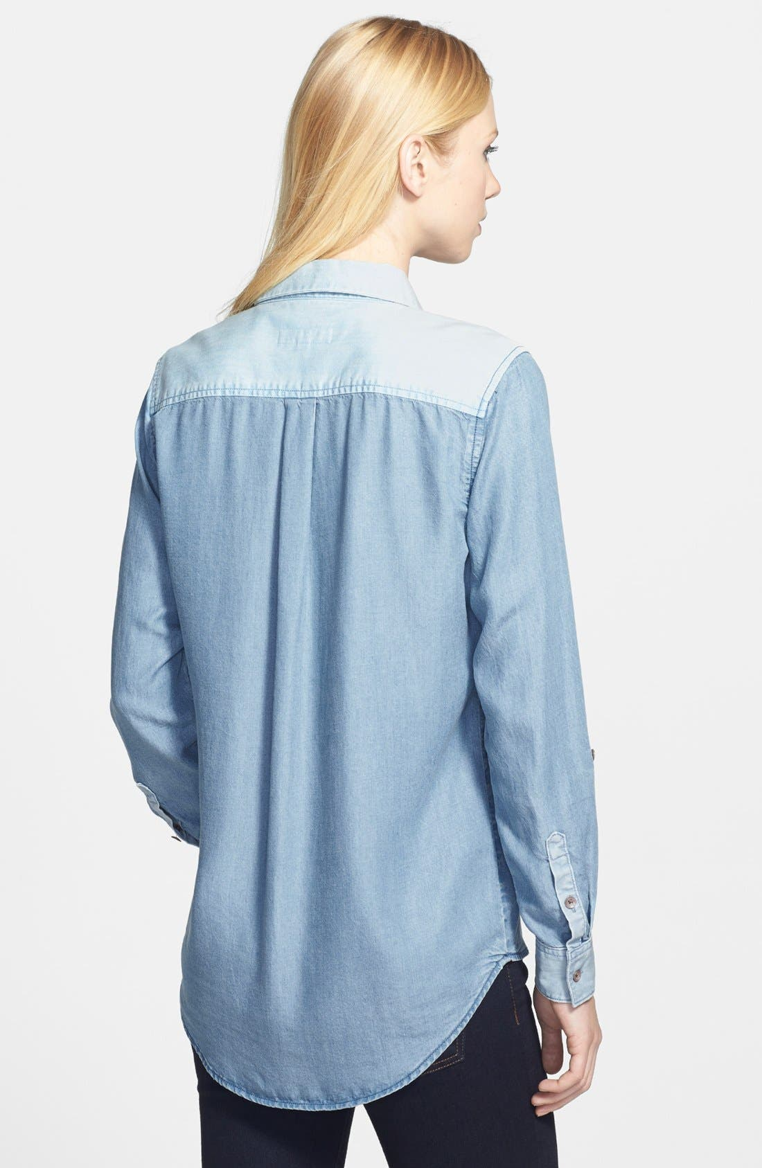 Alternate Image 2  - Two by Vince Camuto Two-Tone Denim Utility Shirt