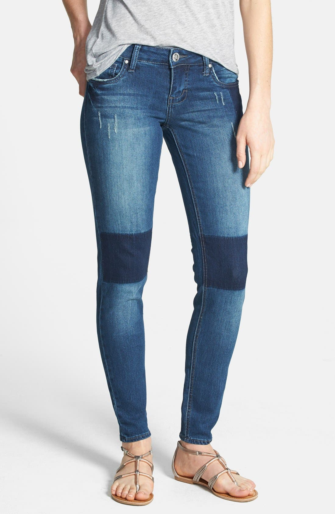 Main Image - STS Blue 'Patchwork' Skinny Jeans (Dark) (Juniors)