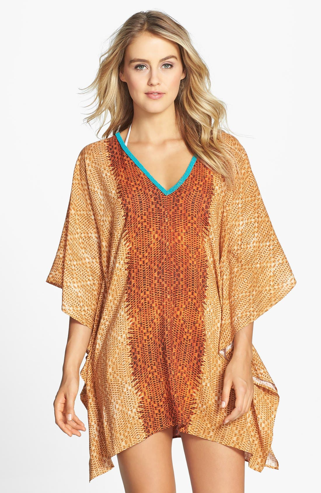 Alternate Image 1 Selected - ViX Swimwear 'Para' Beaded V-Neck Cover-Up Caftan