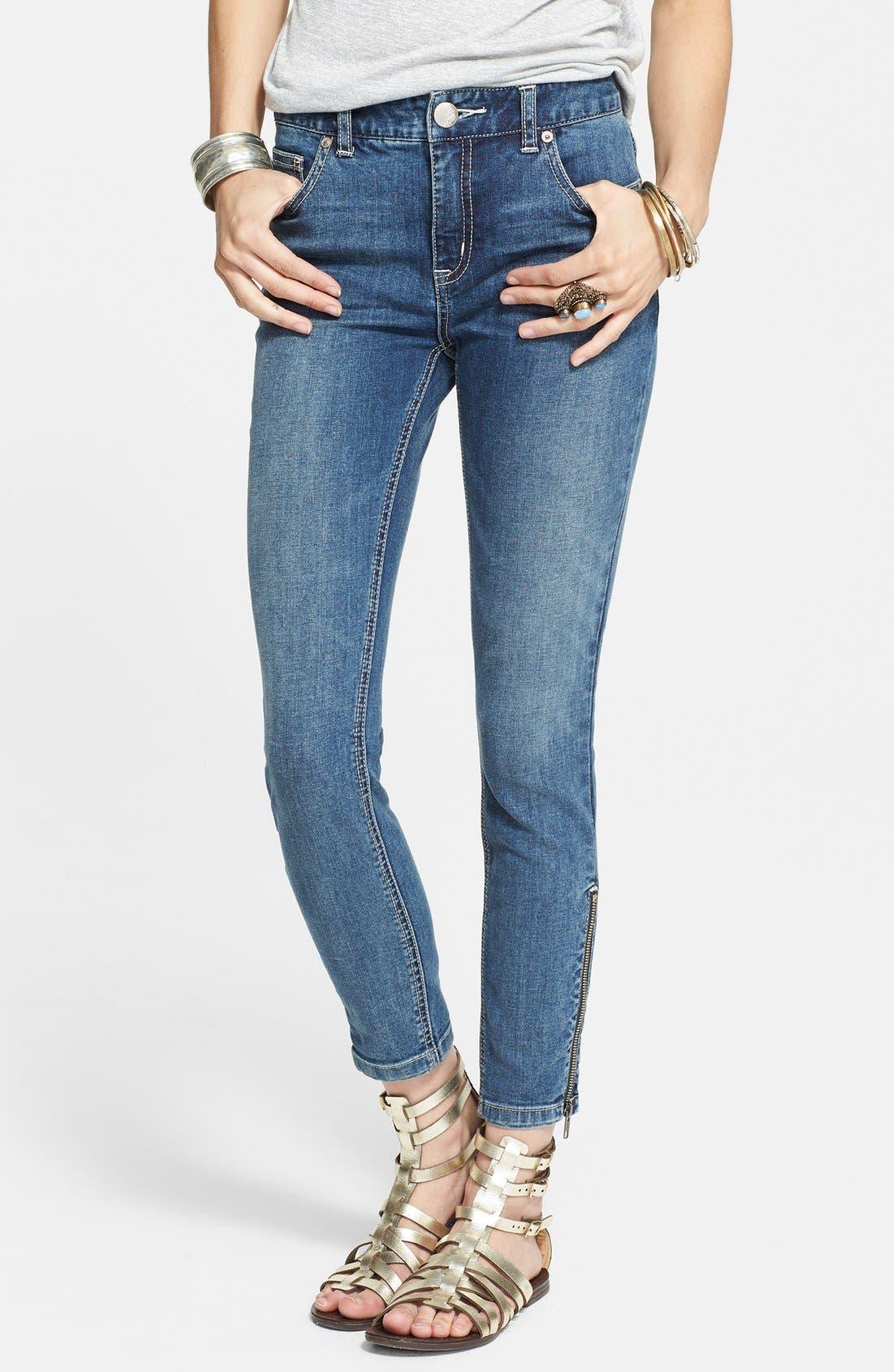 Alternate Image 1 Selected - Free People Zip Detail High Rise Crop Skinny Jeans (Kat)