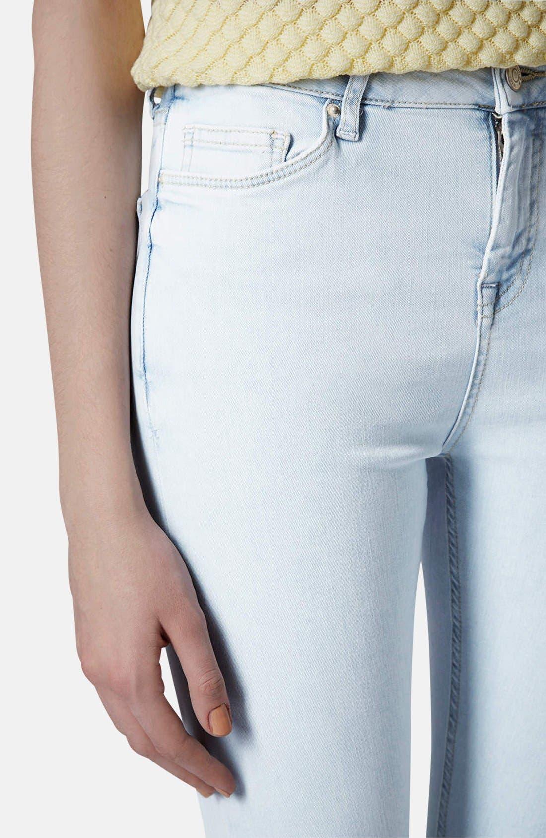 Alternate Image 4  - Topshop Moto 'Jamie' High Rise Skinny Jeans (Light Blue) (Regular & Short)
