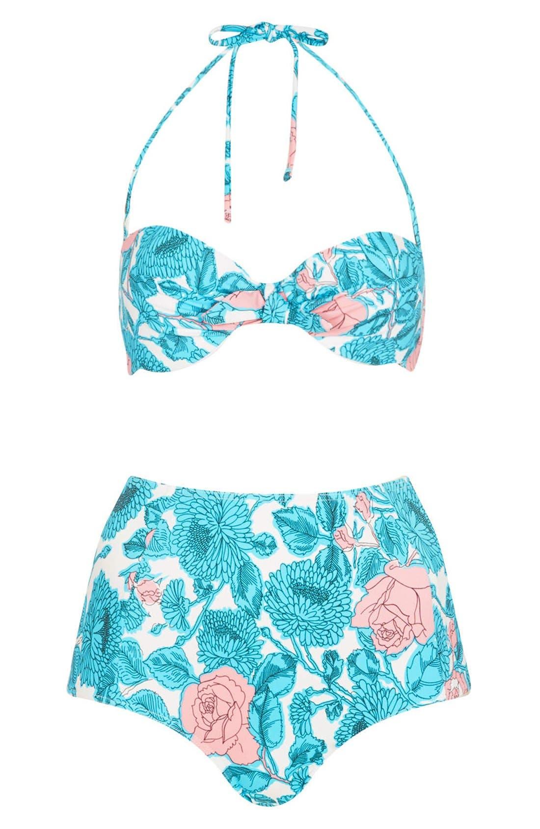 Alternate Image 1 Selected - Topshop 'Savannah' Plunge High Waist Floral Bikini