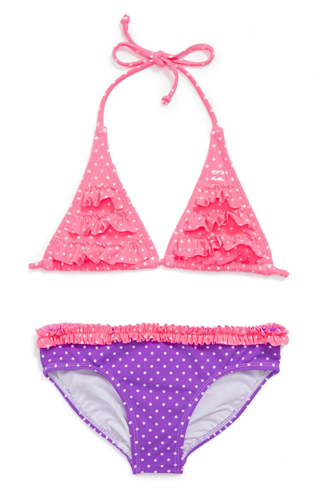 Alternate Image 1 Selected - Billabong Dot Print Two-Piece Bikini (Little Girls)