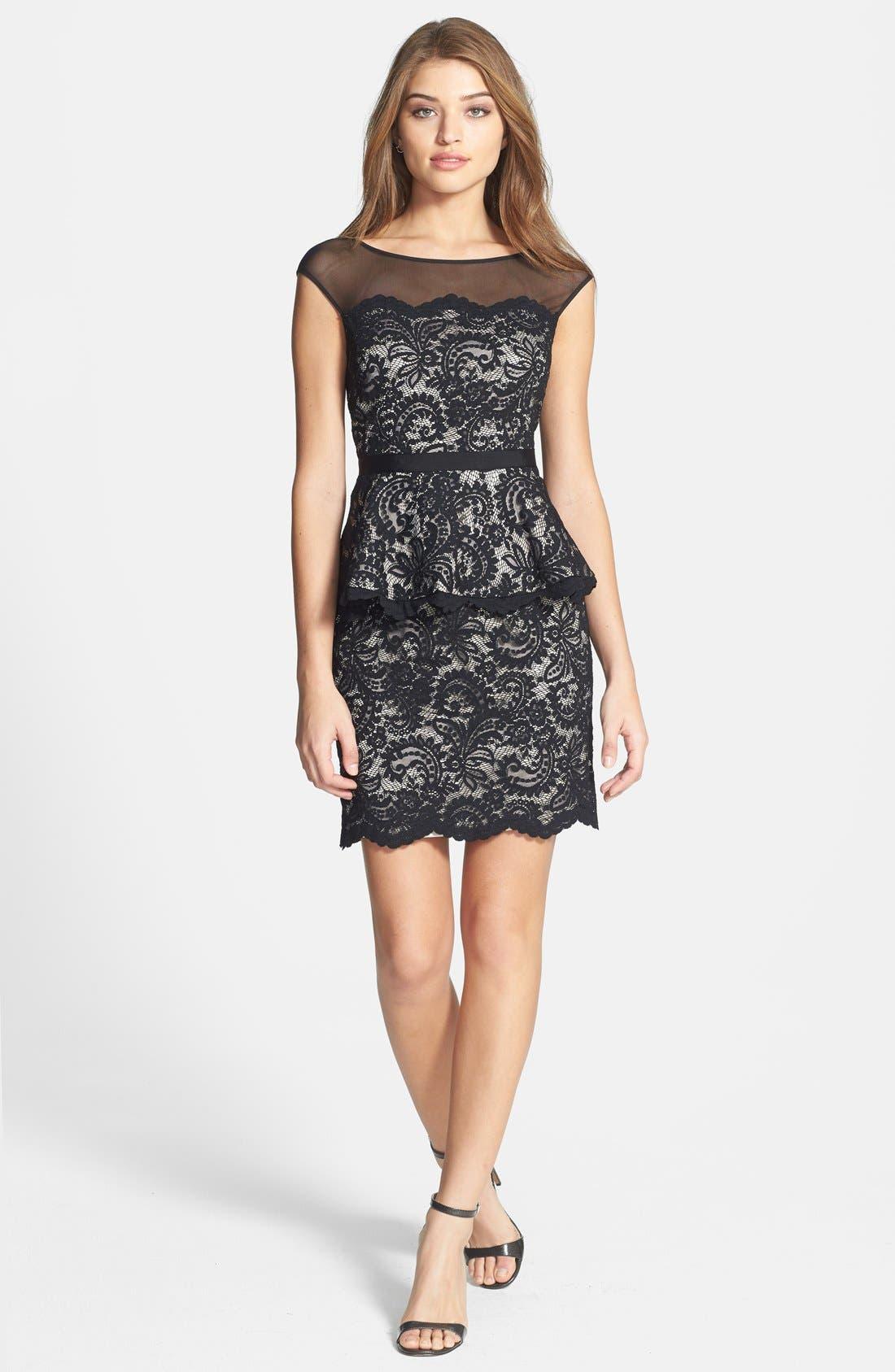 Alternate Image 3  - Eliza J Illusion Neck Lace Peplum Dress