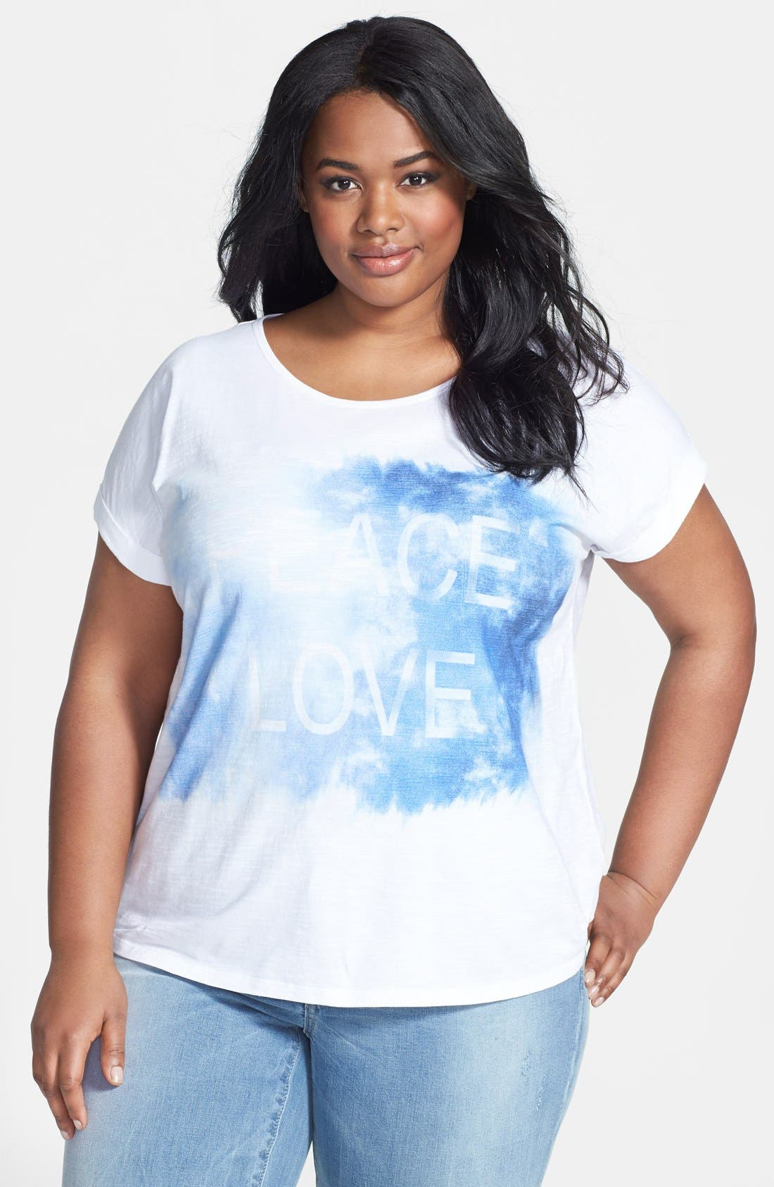 Alternate Image 1 Selected - Two by Vince Camuto 'Peace Love' Graphic Tee (Plus Size)