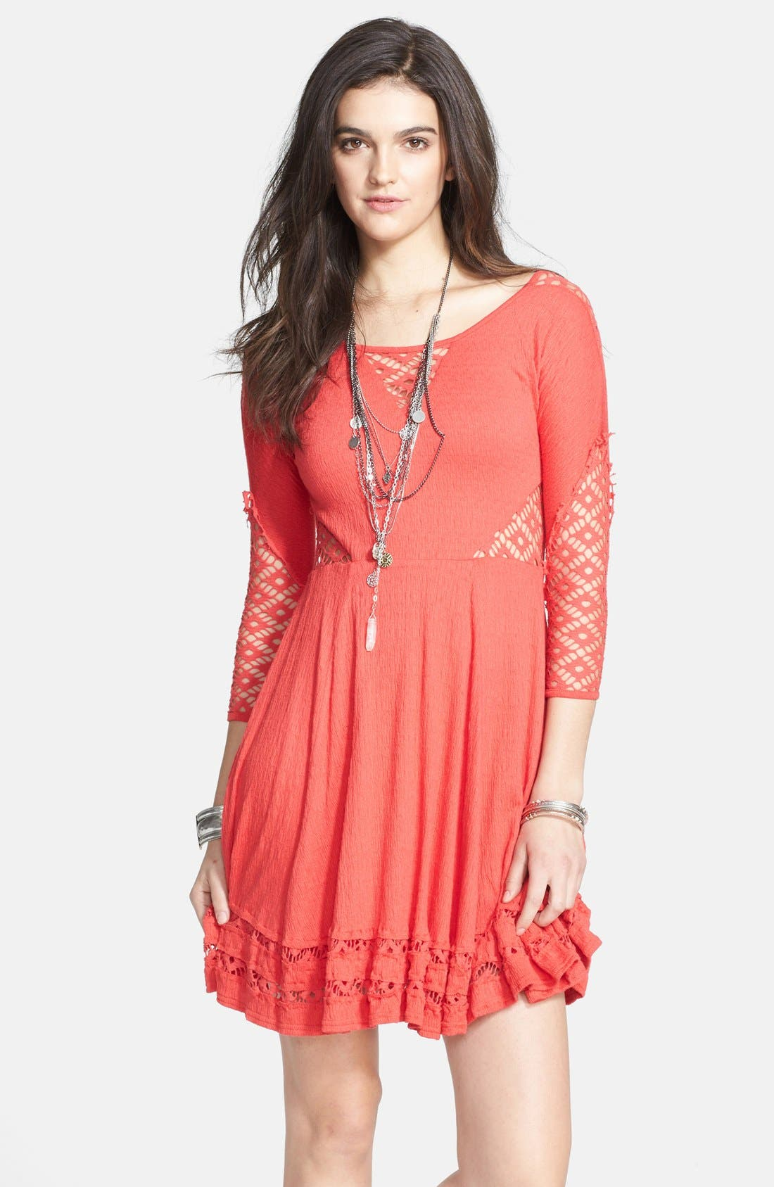 Main Image - Free People 'To the Point' Lace Inset Crinkled Fit & Flare Dress