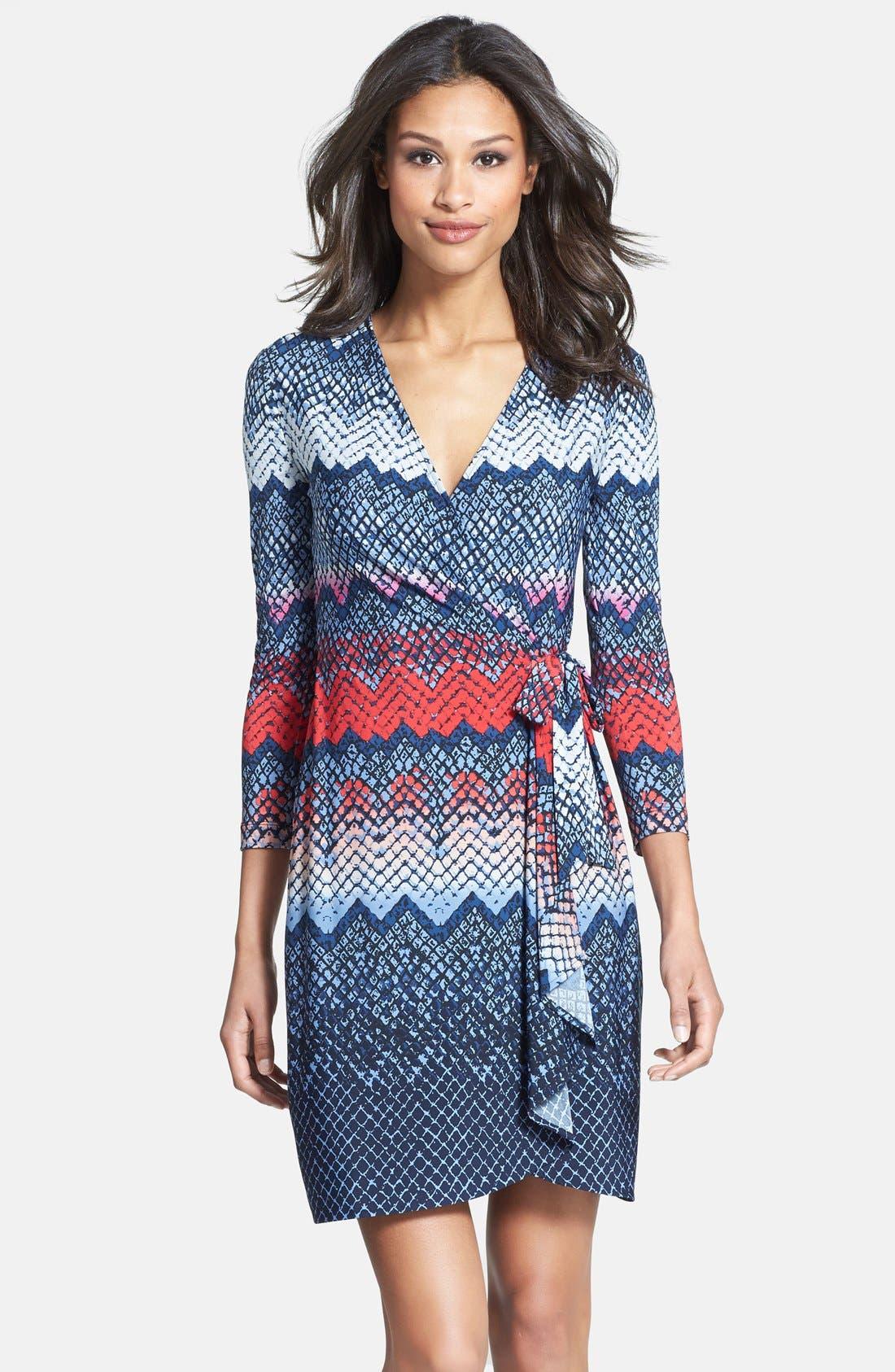 Main Image - BCBGMAXAZRIA Print Long Sleeve Jersey Wrap Dress