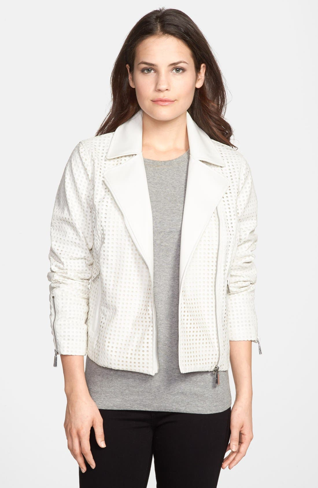 Alternate Image 1 Selected - Vince Camuto Laser Cut Faux Leather Jacket