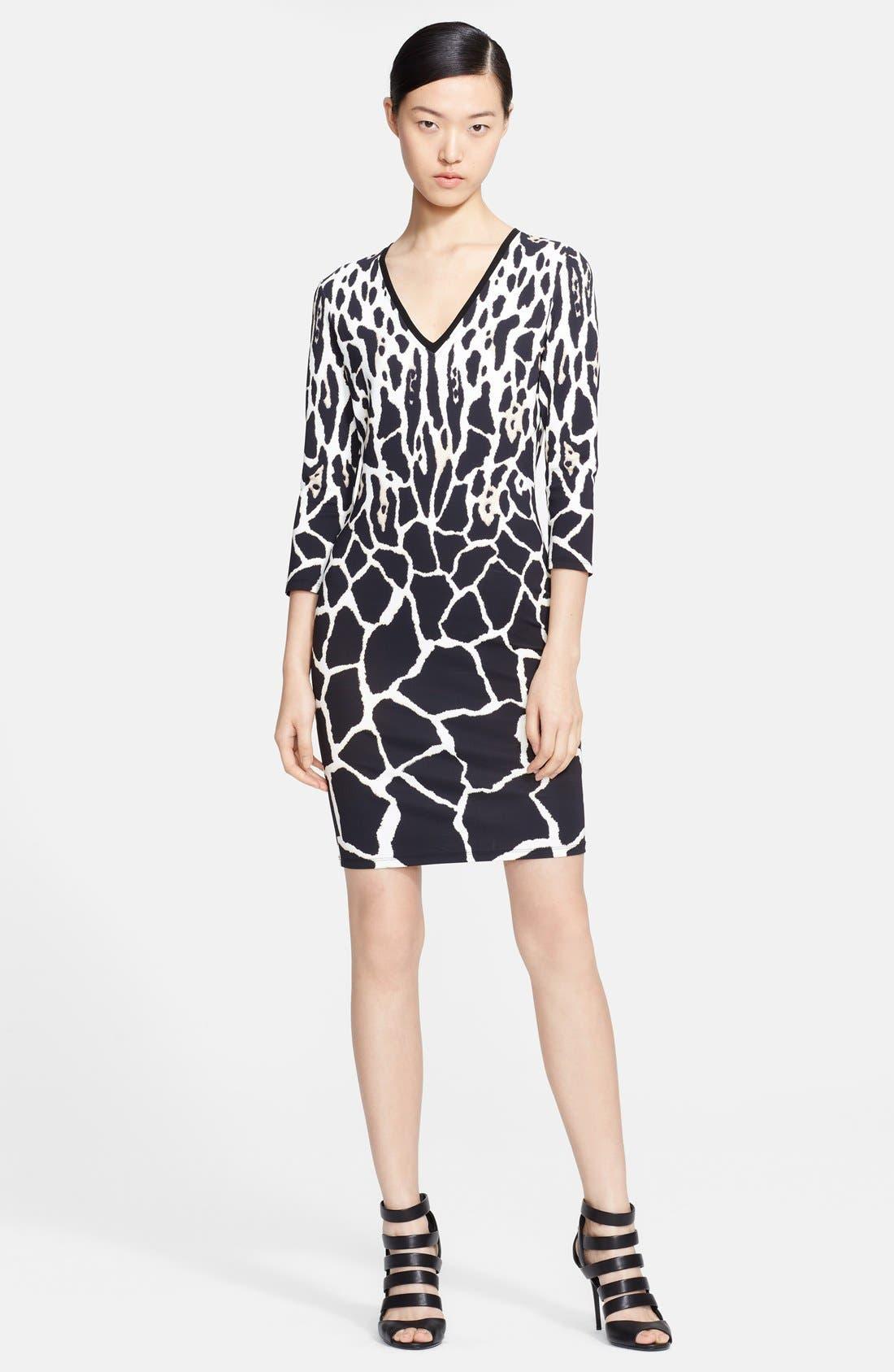 Main Image - Roberto Cavalli V-Neck Animal Print Dress