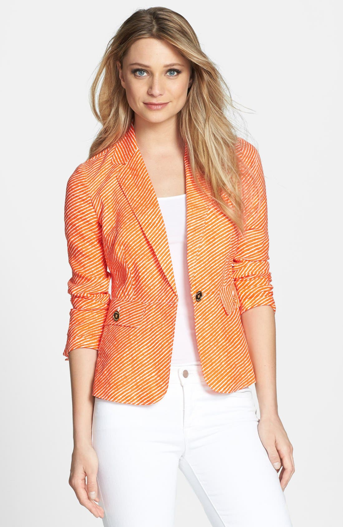 Main Image - MICHAEL Michael Kors One-Button Stripe Linen Peplum Jacket
