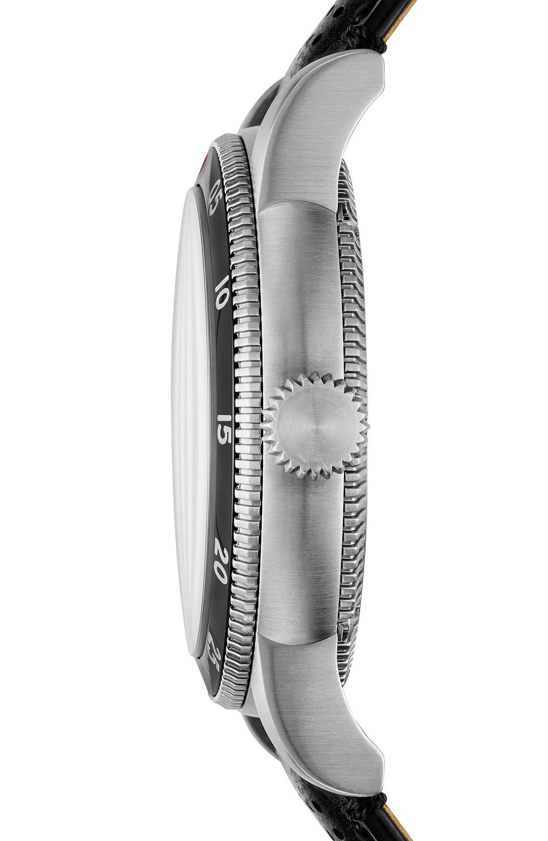 Alternate Image 4  - Burberry 'Utilitarian' Round Perforated Leather Strap Watch, 42mm