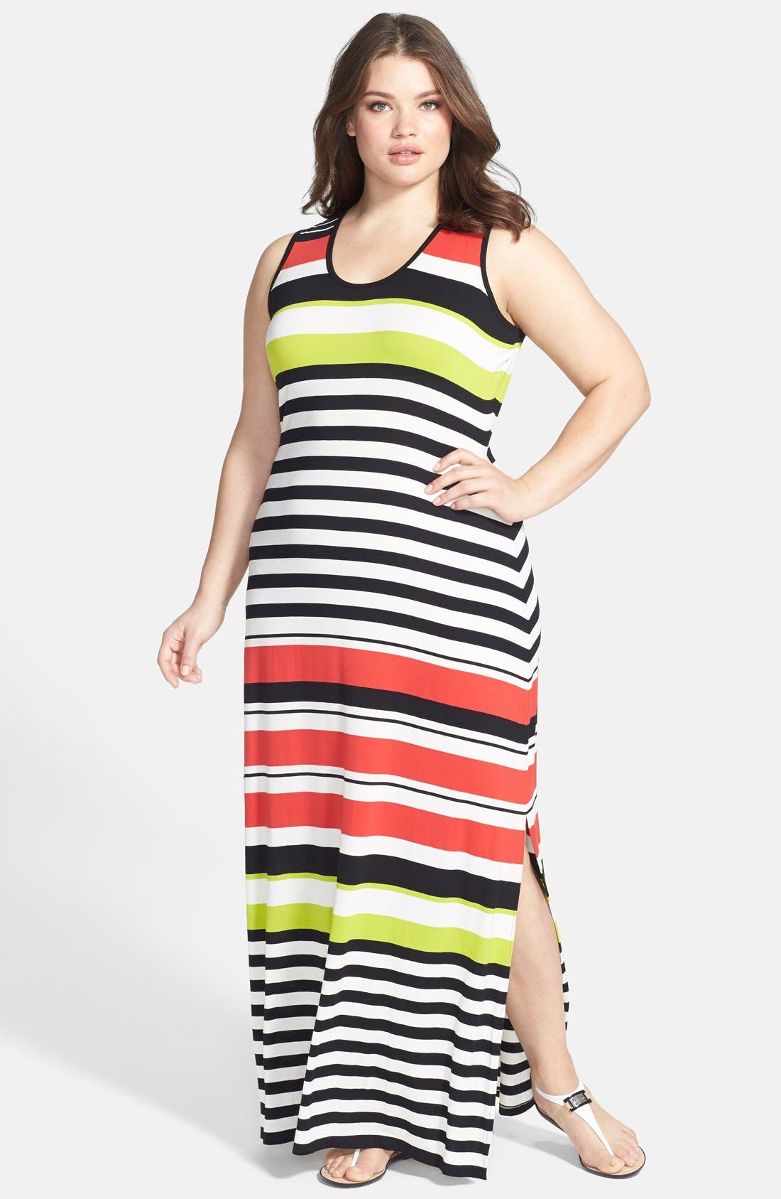 Alternate Image 1 Selected - Vince Camuto Multi Stripe Maxi Dress (Plus Size)