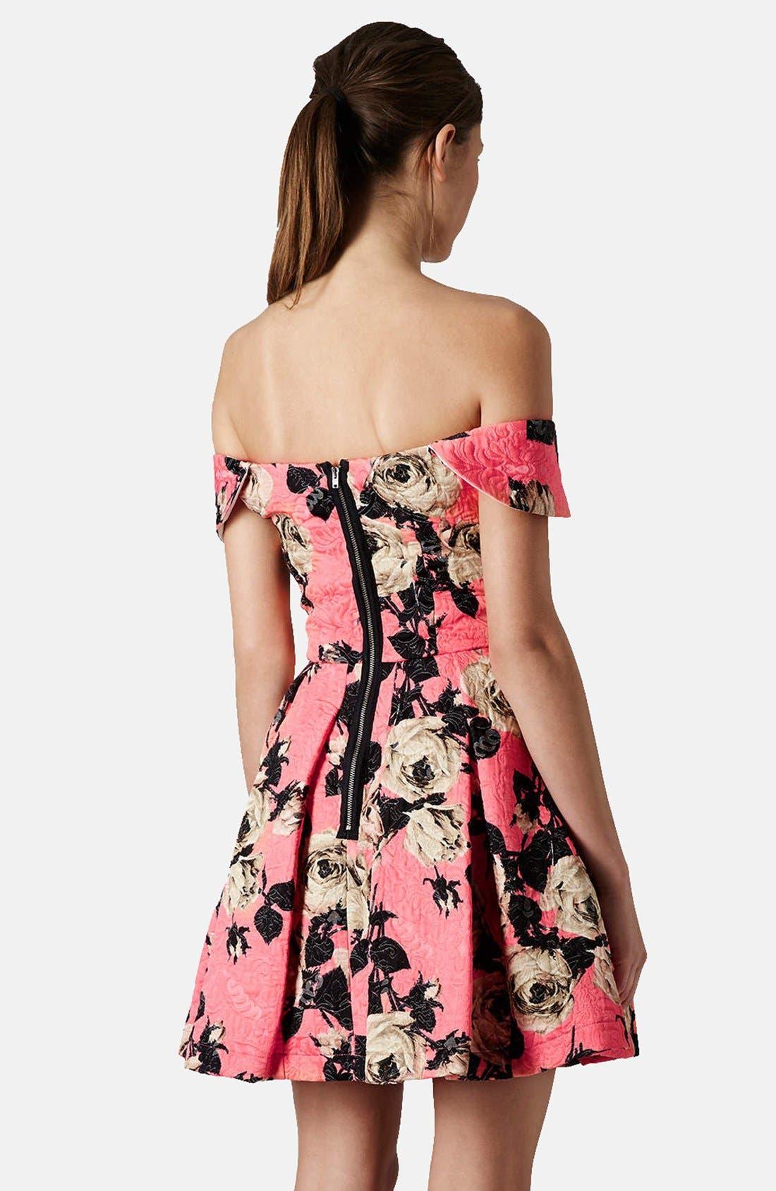 Alternate Image 2  - Topshop 'Bardot' Textured Floral Off Shoulder Fit & Flare Dress