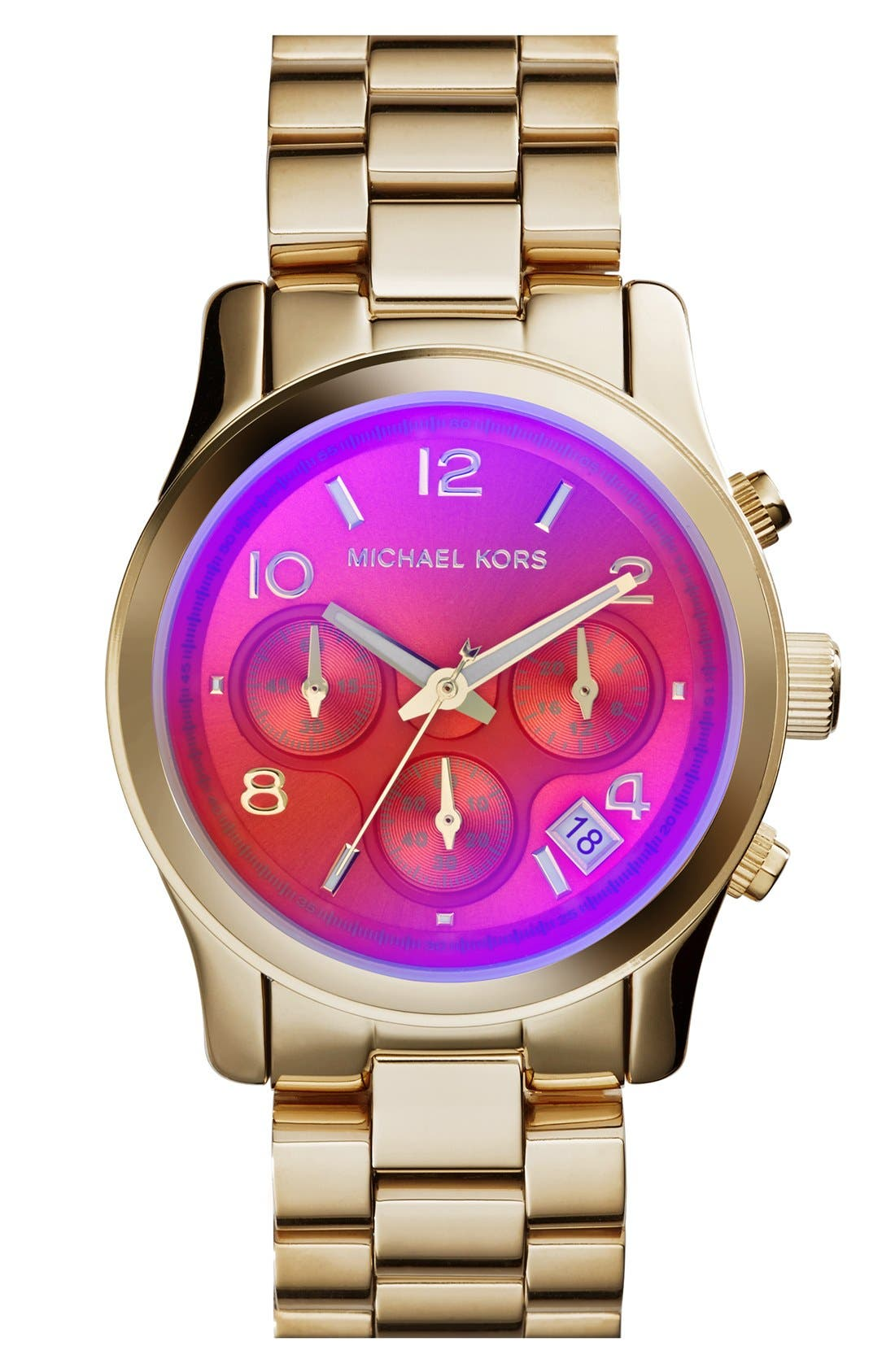 Main Image - Michael Kors 'Runway' Iridescent Crystal Chronograph Watch, 38mm