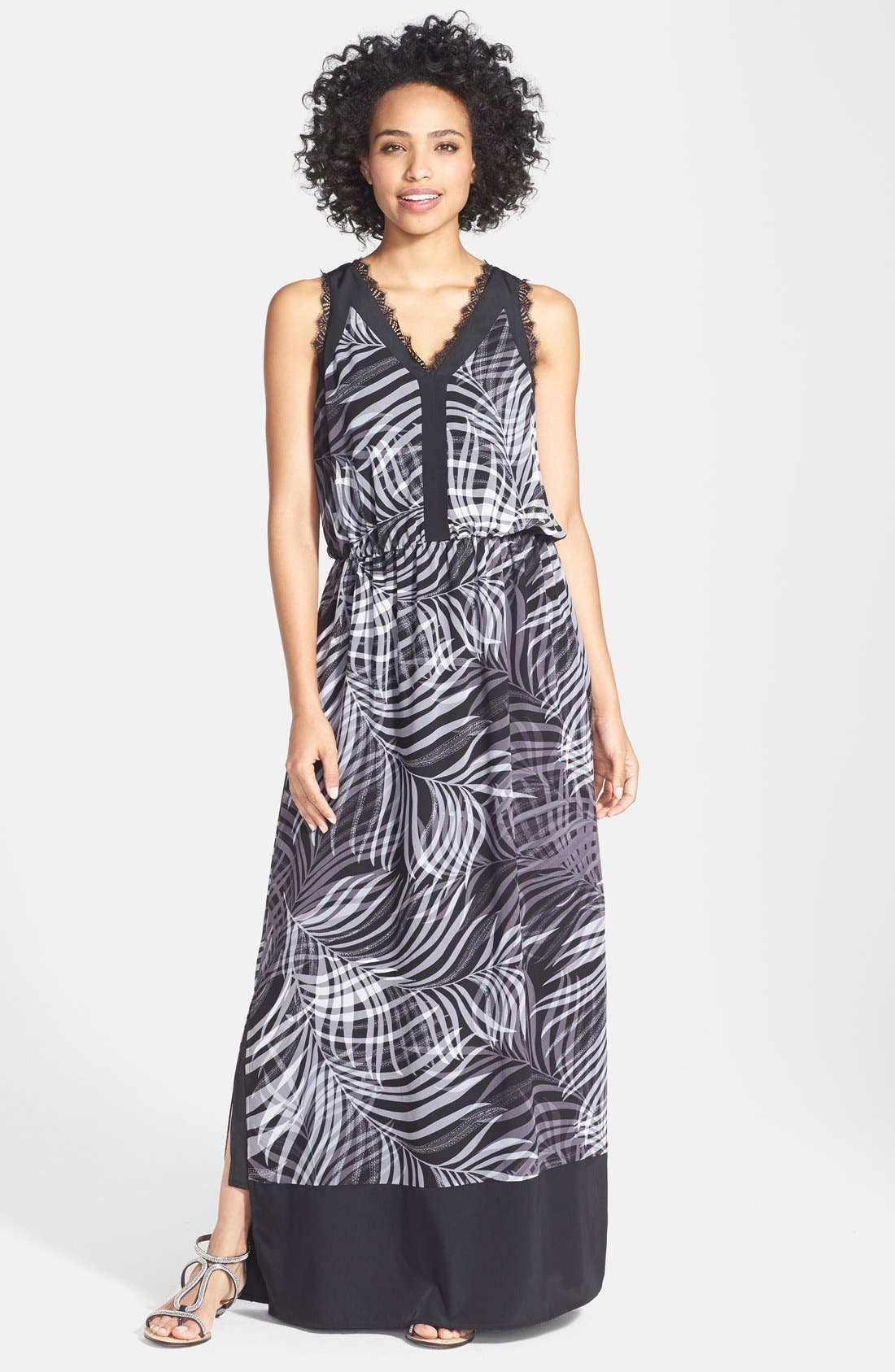 Alternate Image 1 Selected - Adrianna Papell Print Woven V-Neck Maxi Dress