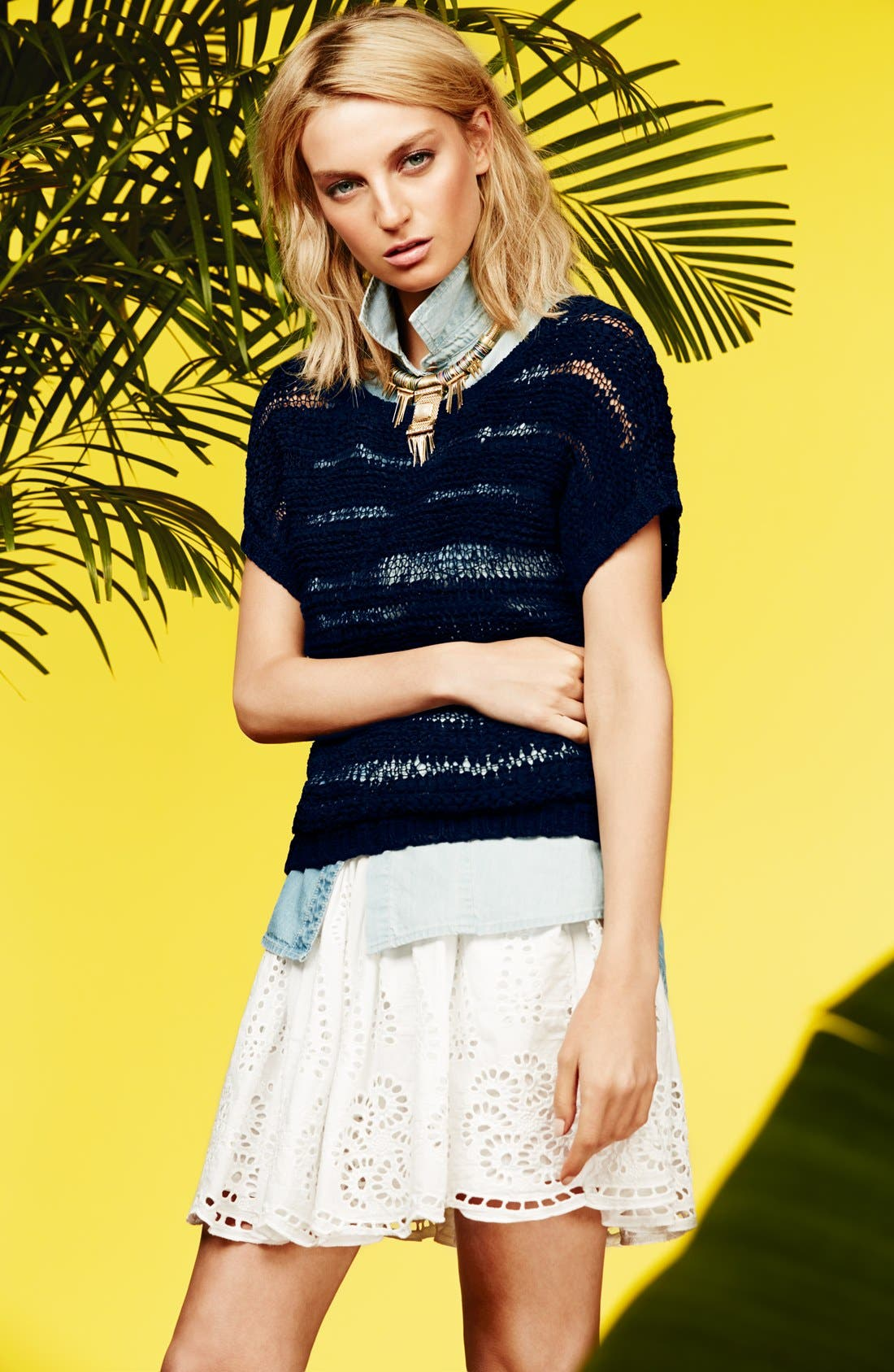 Alternate Image 4  - Two by Vince Camuto Eyelet Embroidered Cotton Skirt