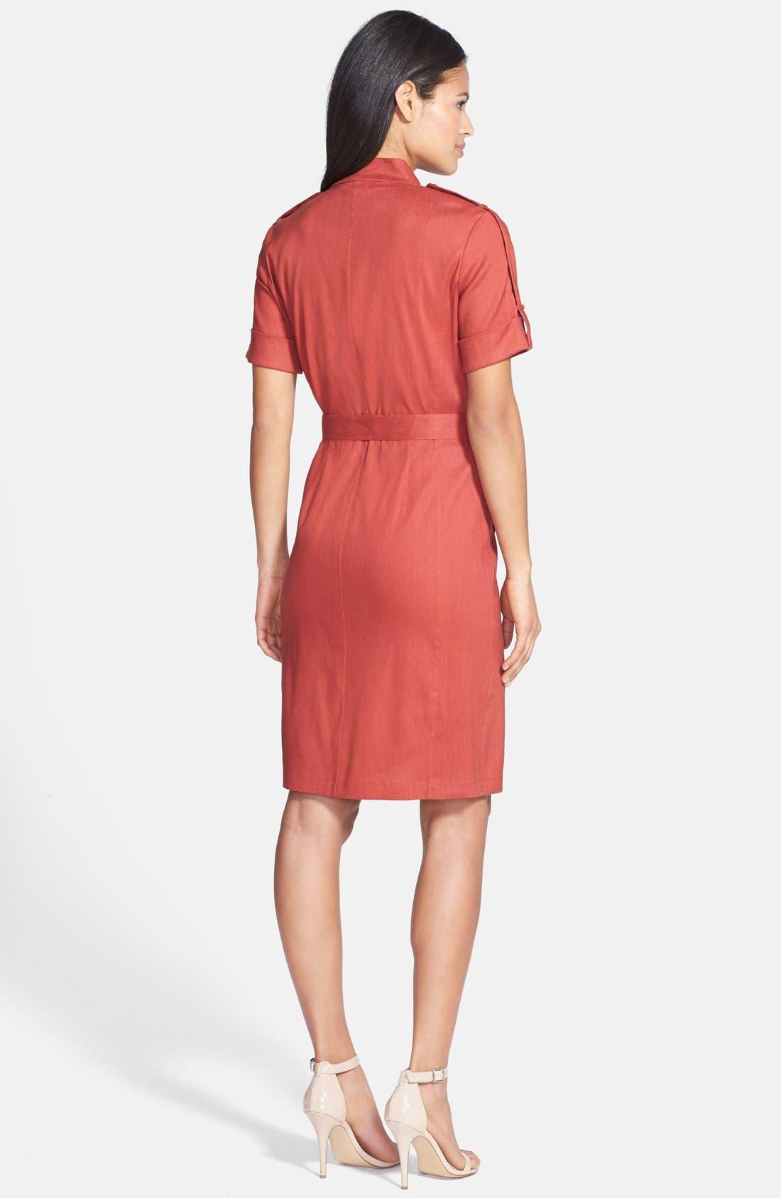 Alternate Image 2  - Lafayette 148 New York Short Sleeve Zip Front Shirtdress