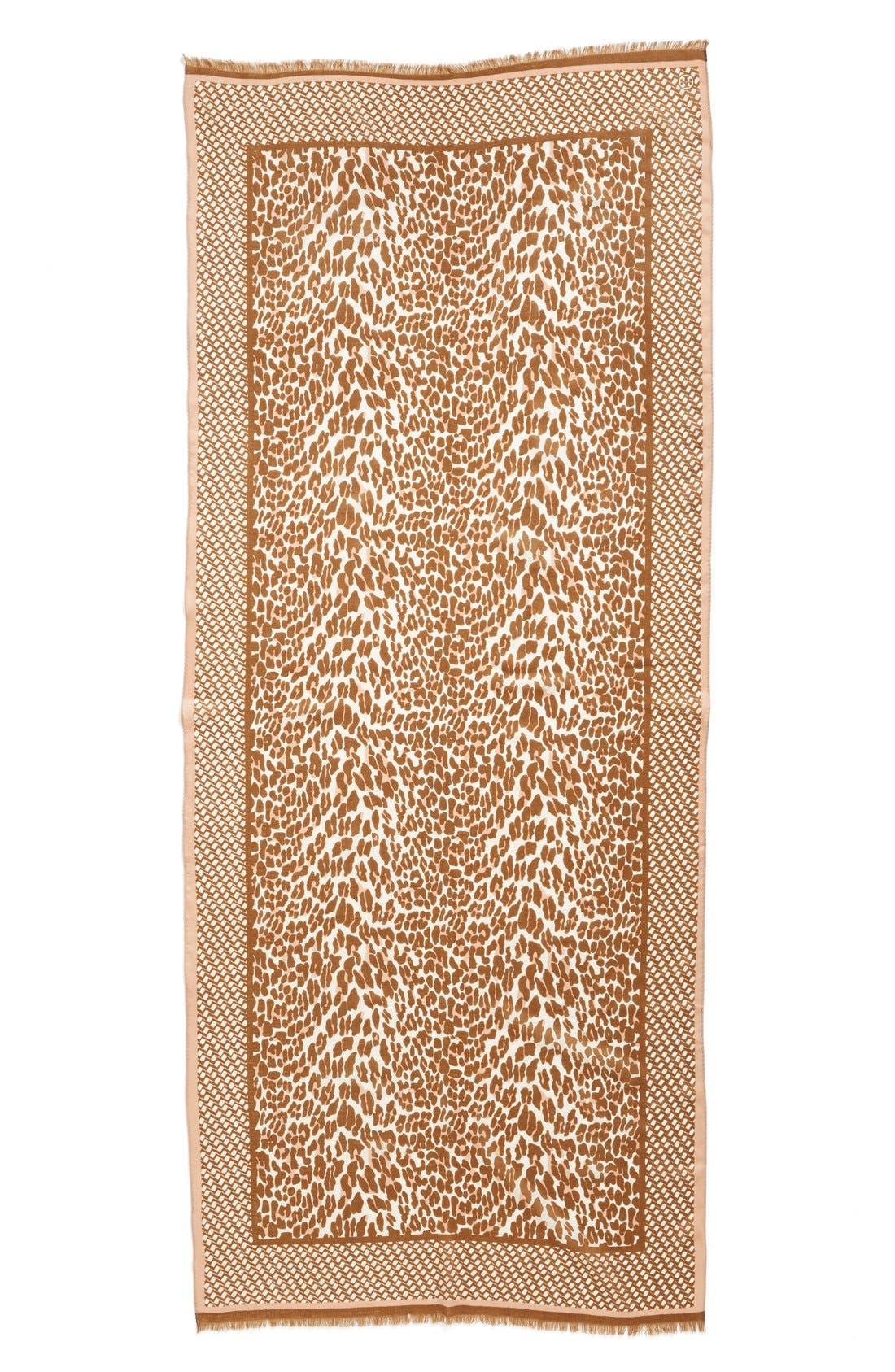 Alternate Image 2  - Tory Burch 'Reva - Leopard' Wool Gauze Scarf