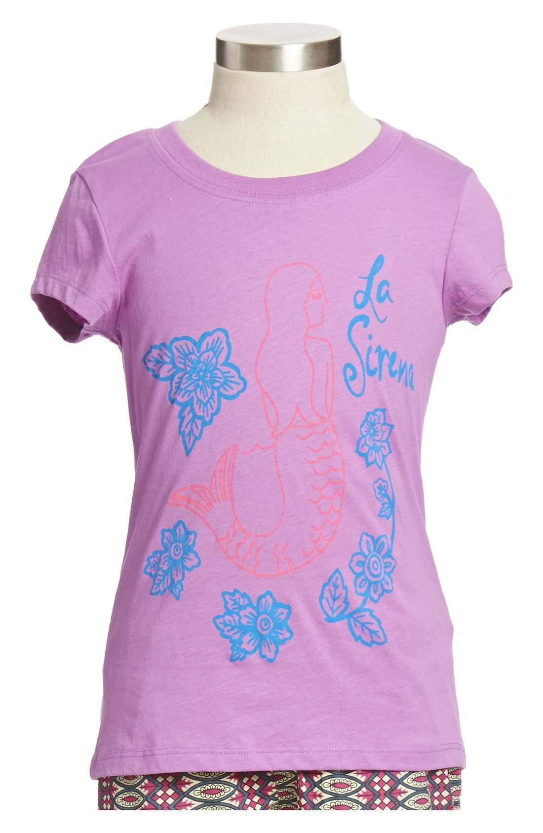 Main Image - Peek 'La Sirena' Graphic Cotton Tee (Toddler Girls, Little Girls & Big Girls)