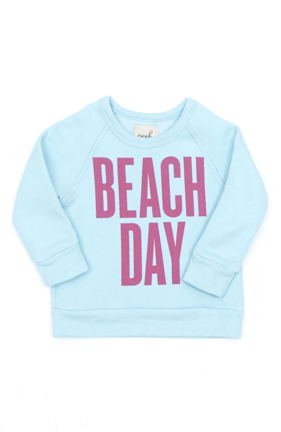 Alternate Image 1 Selected - Peek 'Beach Day' Crewneck Sweatshirt (Toddler Girls, Little Girls & Big Girls)