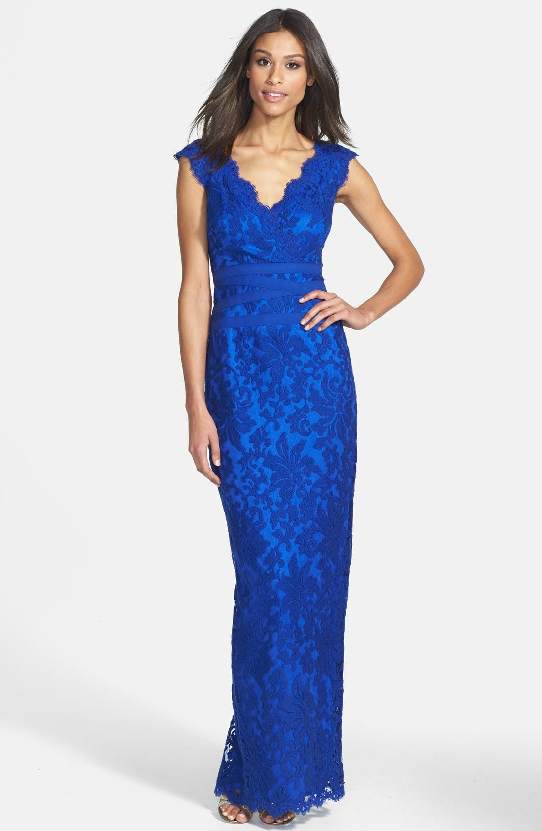 Alternate Image 1 Selected - Tadashi Shoji Embroidered Lace Column Gown