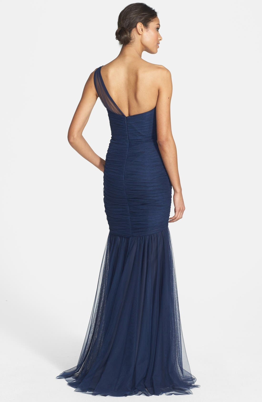 Alternate Image 2  - Amsale One-Shoulder Tulle Mermaid Gown