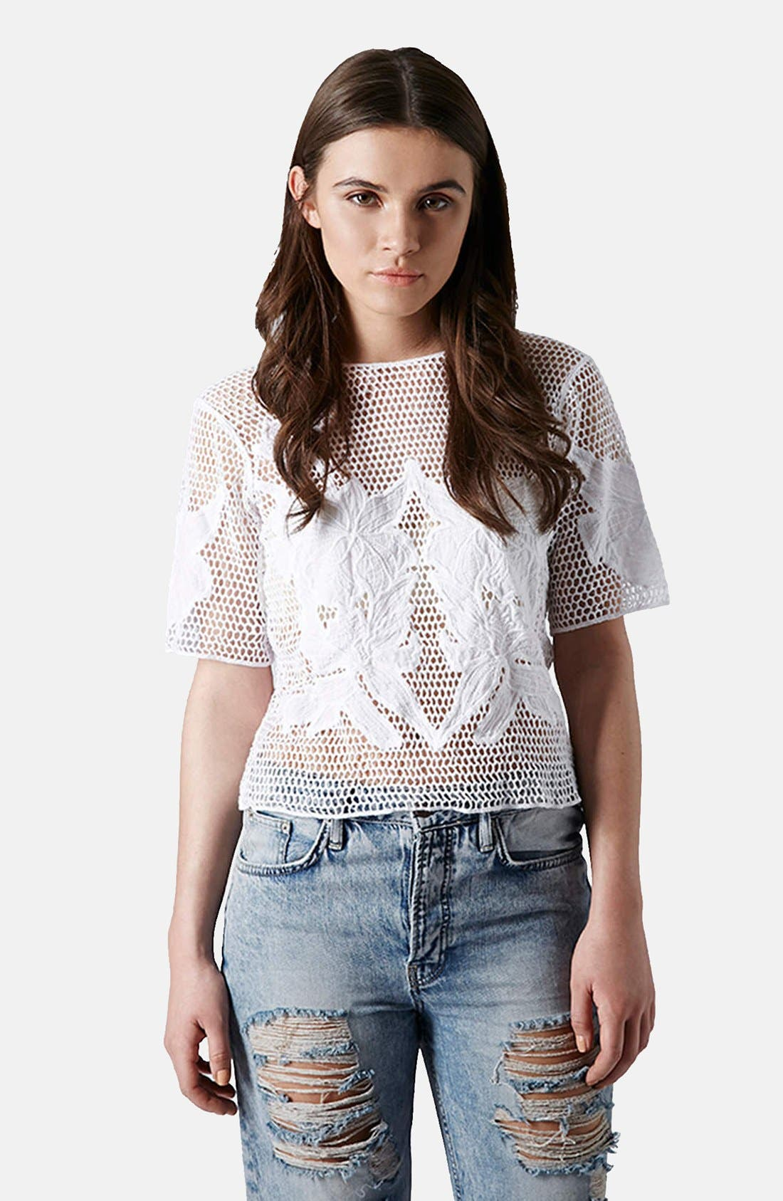 Main Image - Topshop Flower Appliqué Open Knit Tee