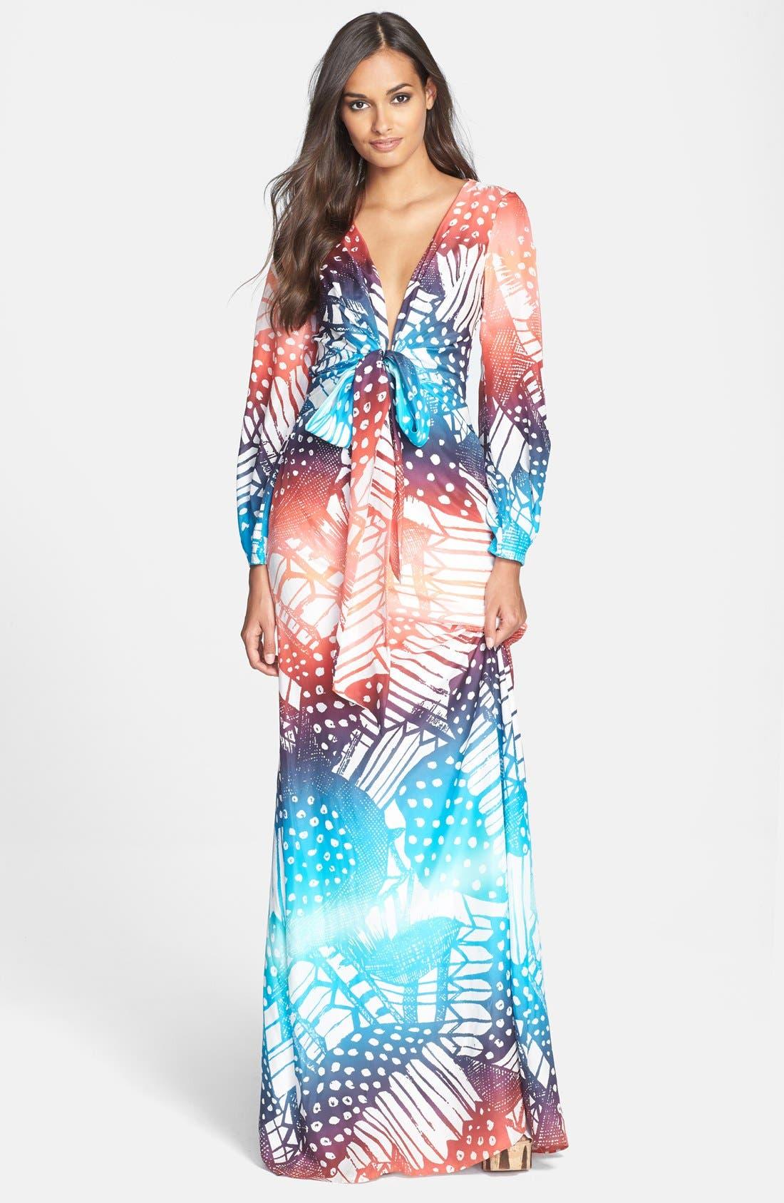 Alternate Image 1 Selected - Diane von Furstenberg 'Mauri' Print Silk Gown