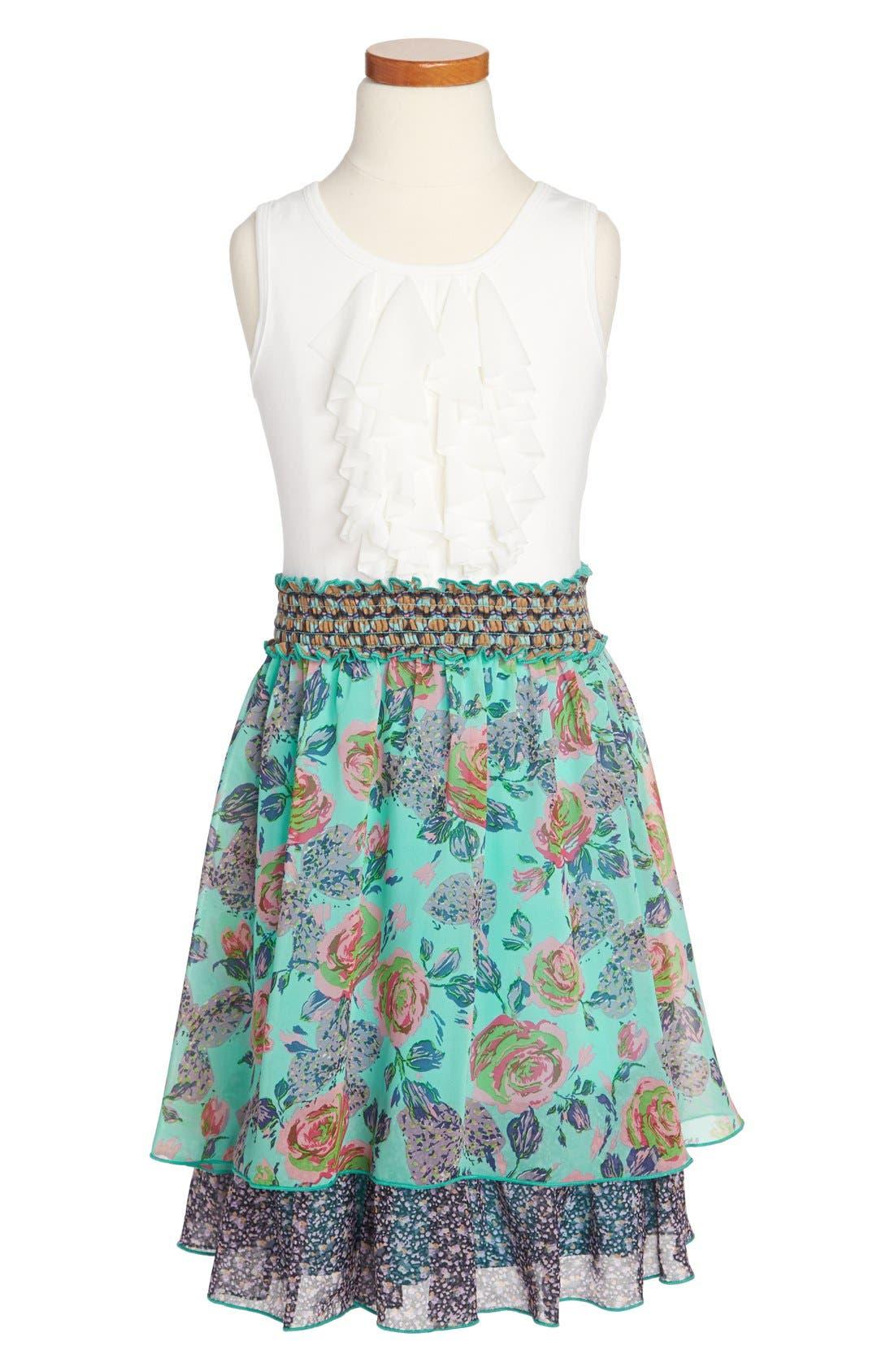 Main Image - Truly Me 'Media' Smocked Waist Dress (Big Girls)