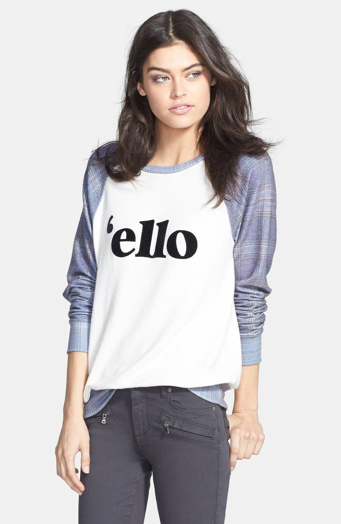 Main Image - Wildfox 'Ello' Raglan Pullover (Nordstrom Exclusive)