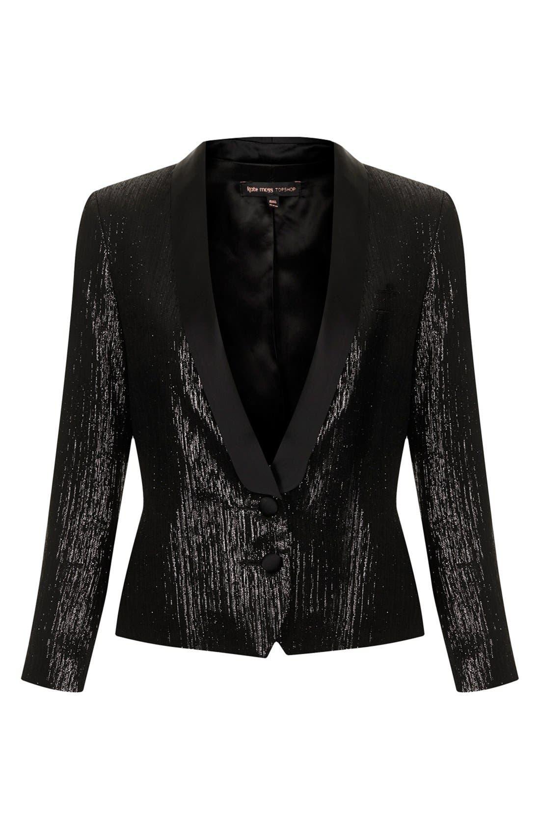 Alternate Image 2  - Kate Moss for Topshop Lamé Tuxedo Jacket