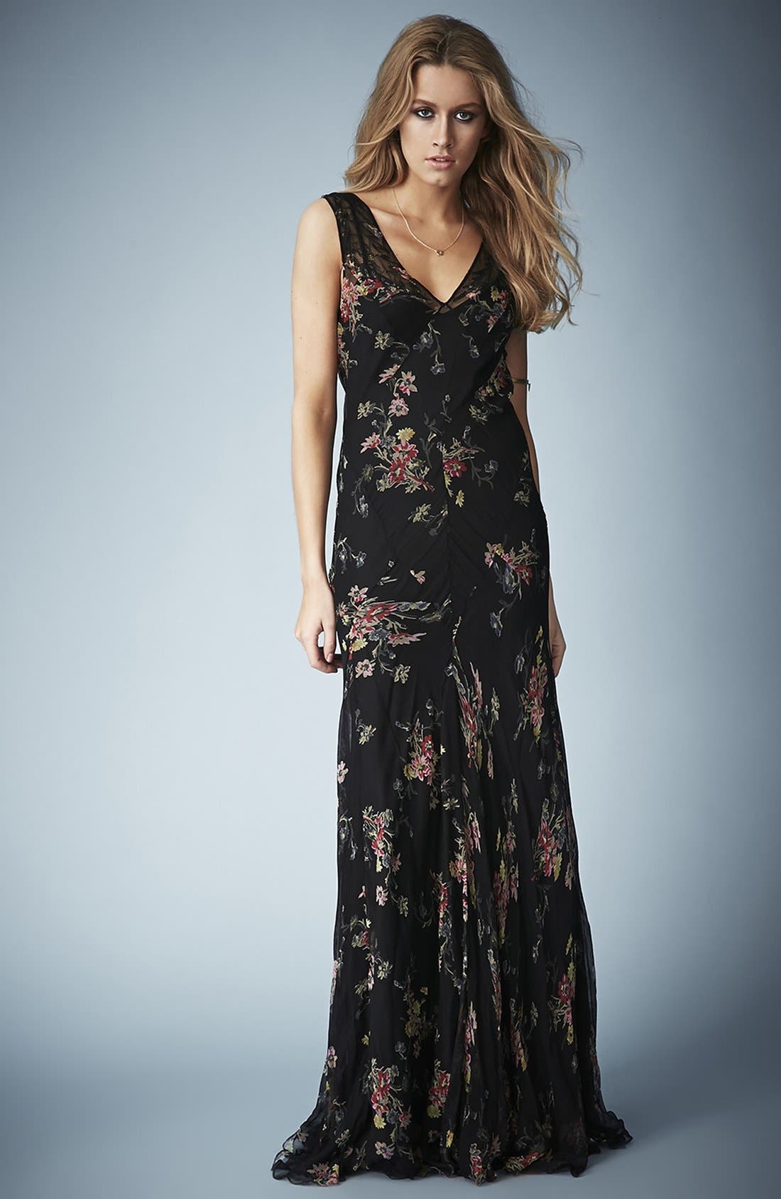 Alternate Image 1 Selected - Kate Moss for Topshop Floral Chiffon Maxi Dress