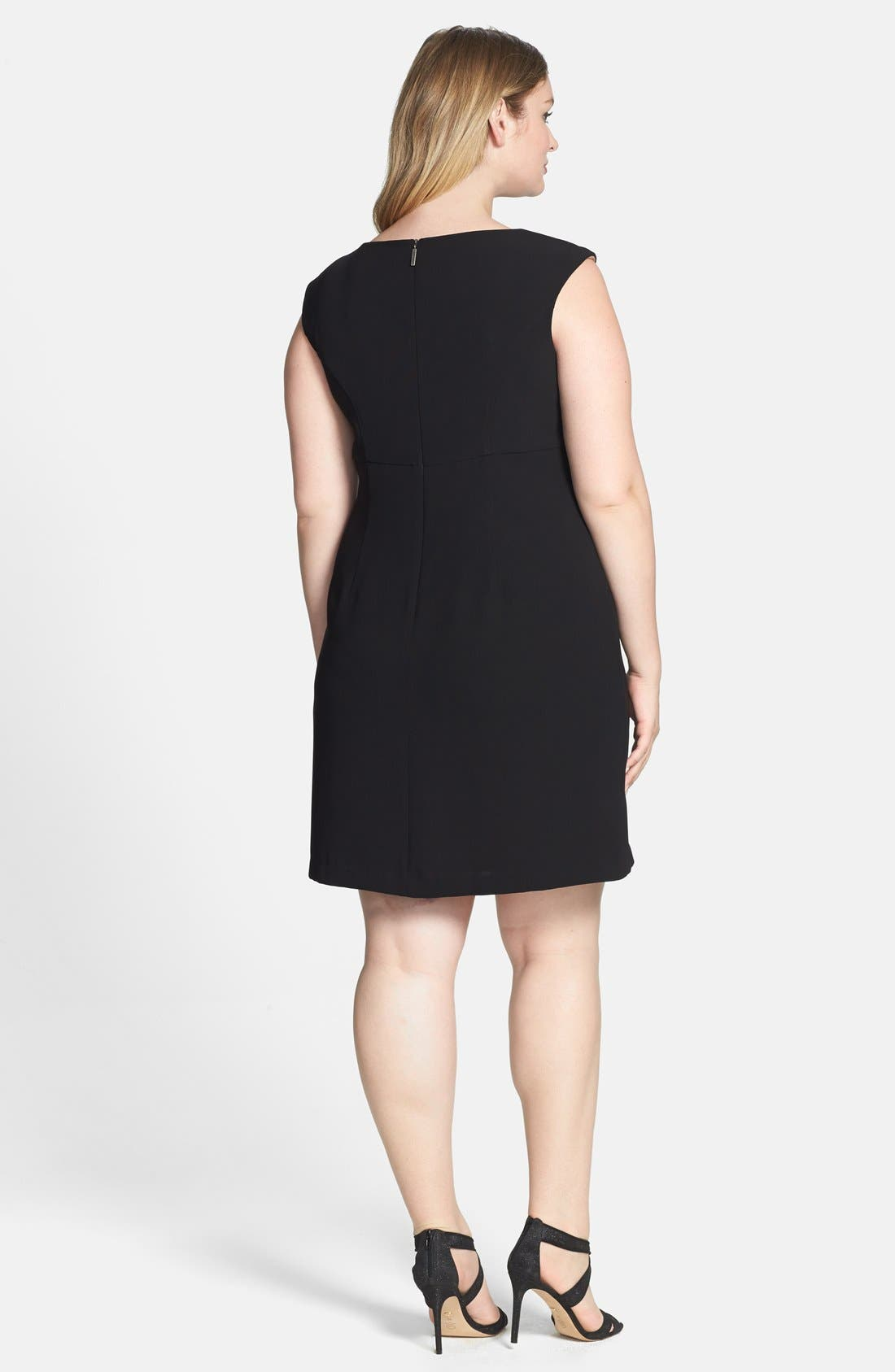 Alternate Image 2  - Donna Ricco Stretch Crepe A-Line Dress (Plus Size)