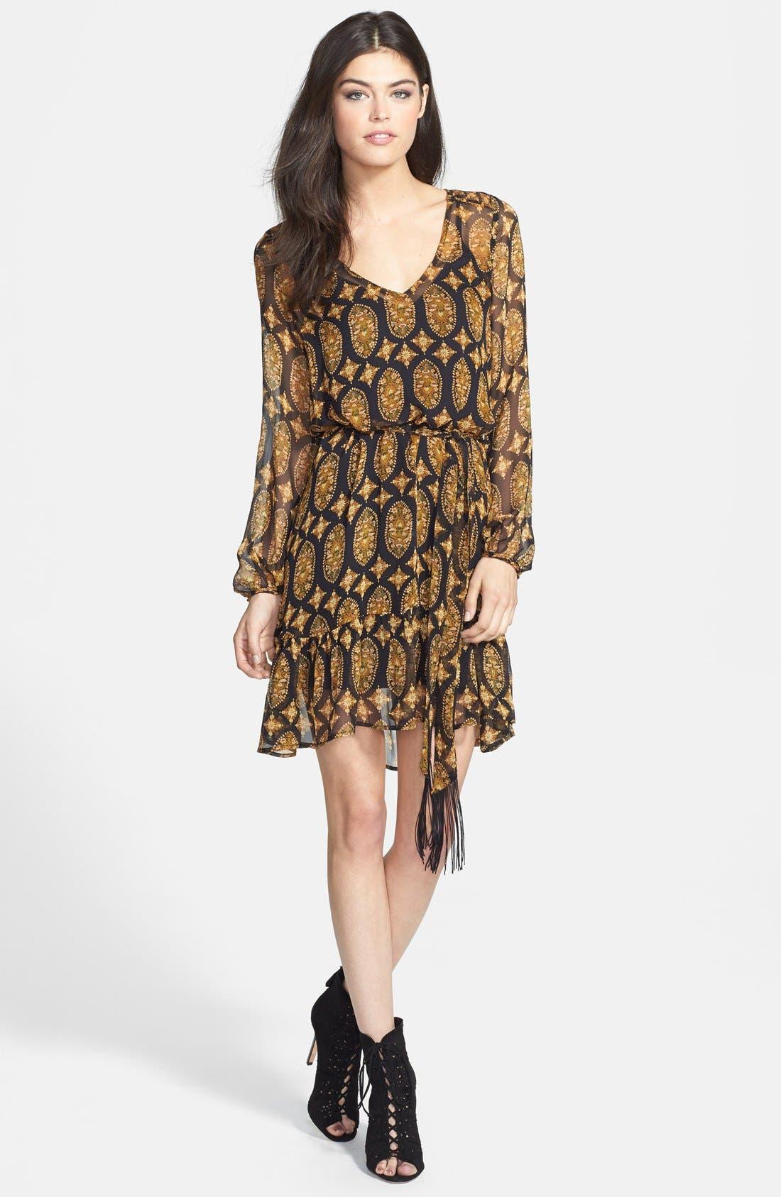 Main Image - Ella Moss Marigold Print Silk Dress (Nordstrom Exclusive)