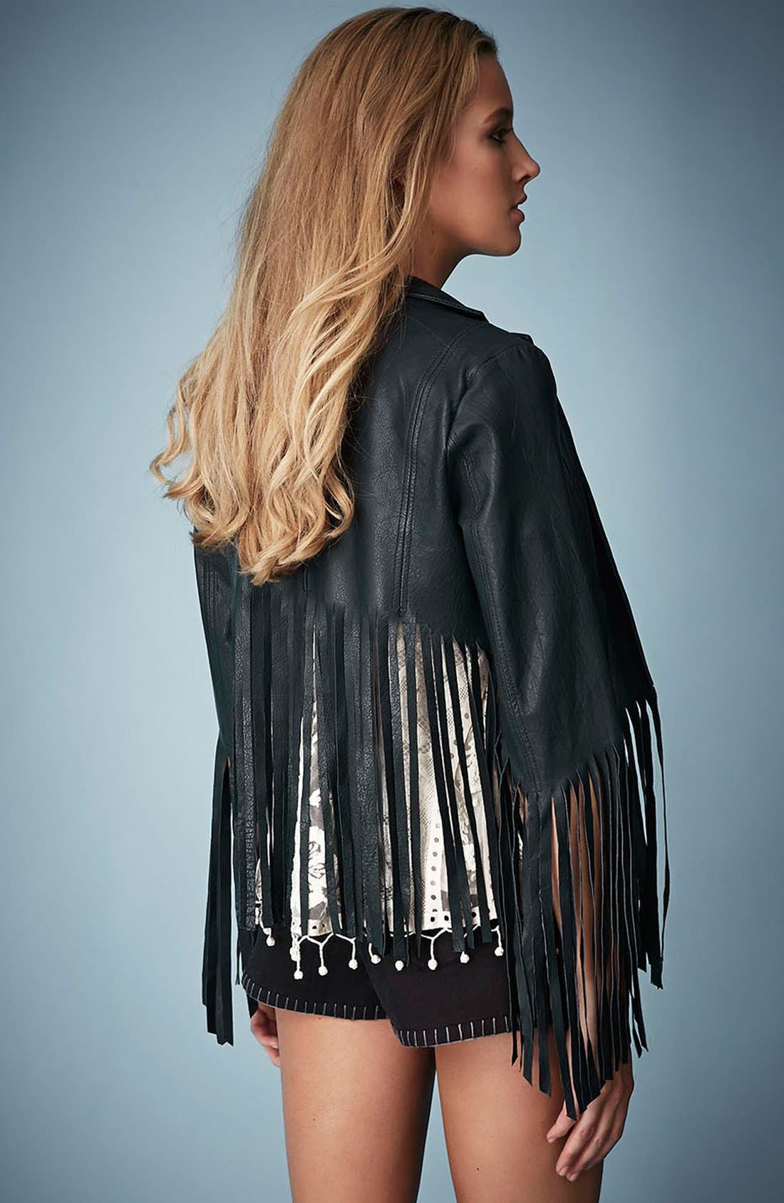 Alternate Image 2  - Kate Moss for Topshop Fringed Leather Jacket