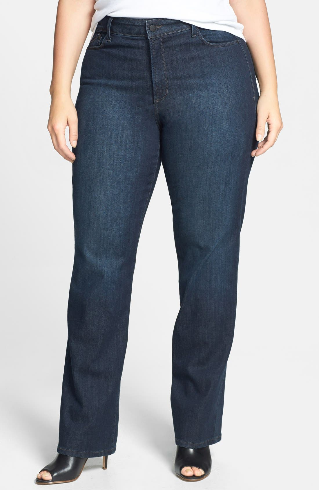 Alternate Image 1 Selected - NYDJ 'Marilyn' Stretch Straight Leg Jeans (Harrington) (Plus Size)