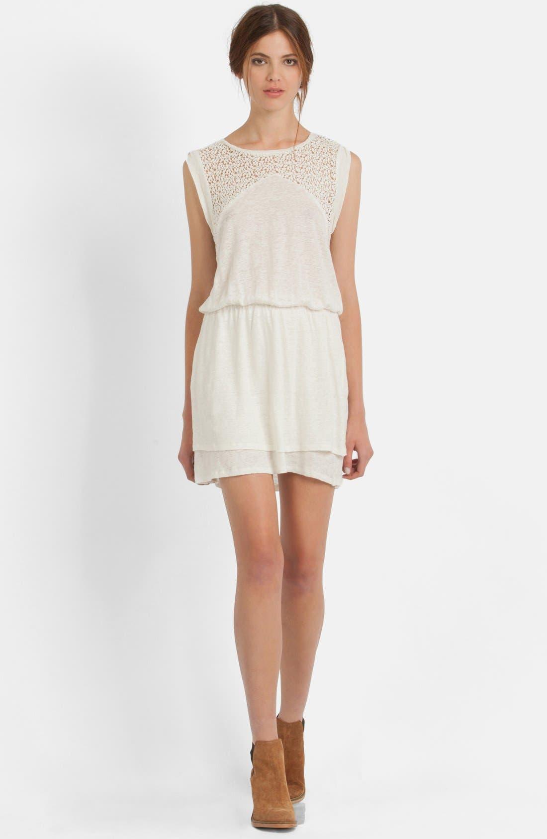 Main Image - maje Lace Yoke Blouson Dress