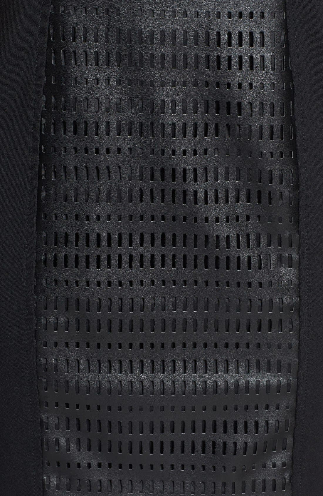 Alternate Image 4  - Trina Turk Laser Cut Faux Leather & Ponte Sheath Dress