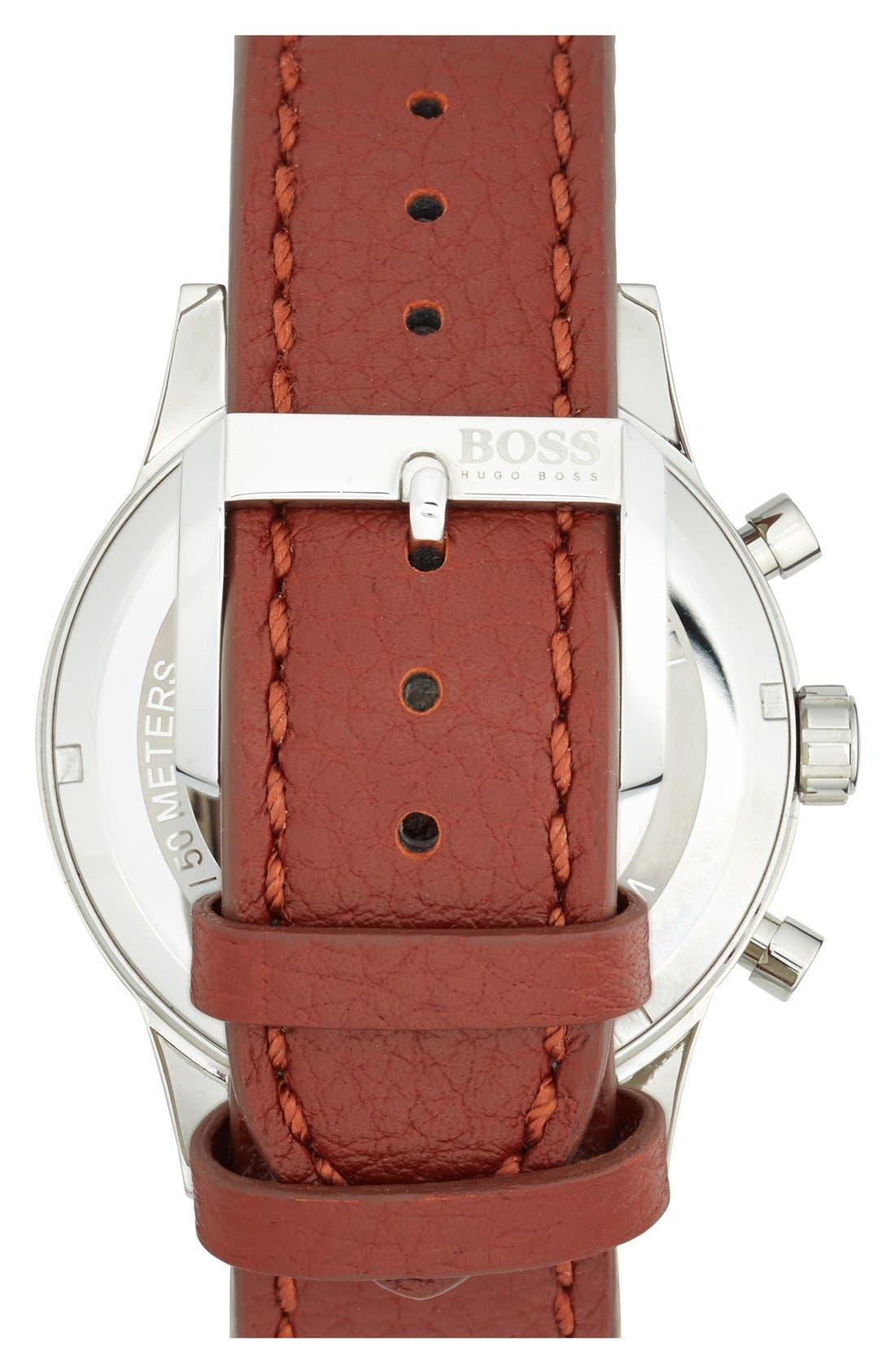 Alternate Image 2  - BOSS 'Aviator' Chronograph Leather Strap Watch, 44mm