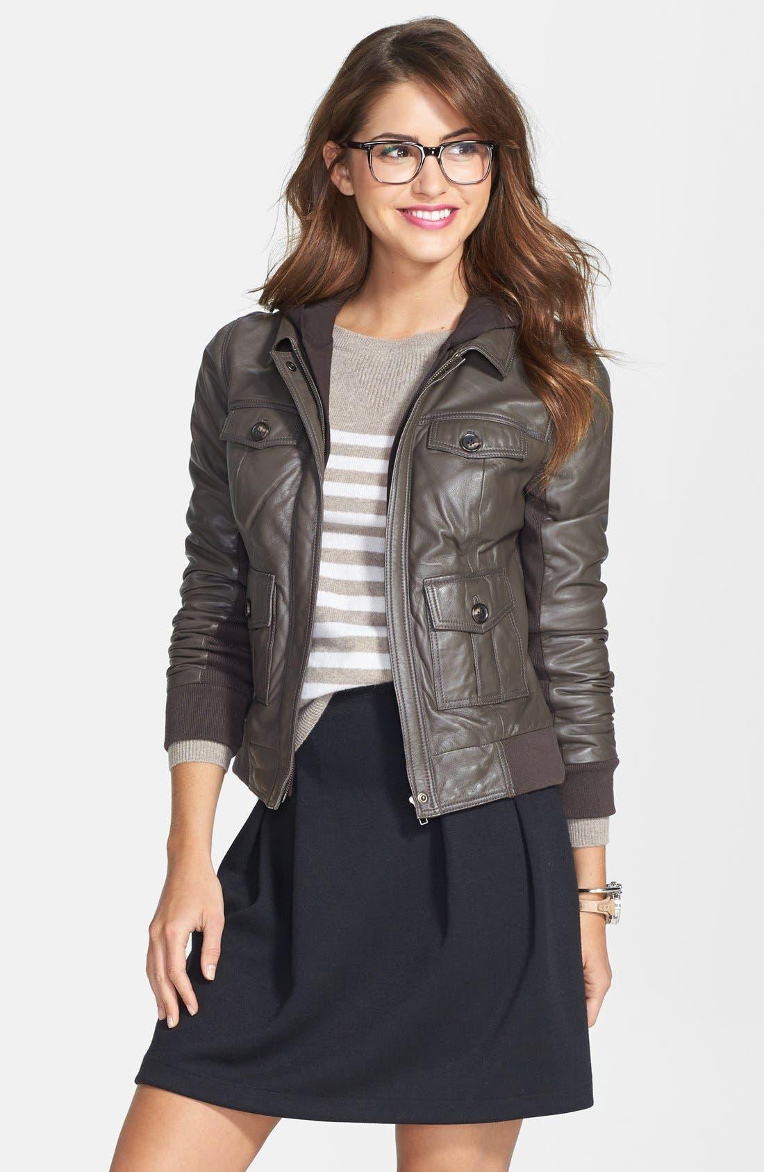 Alternate Image 1 Selected - Caslon® Hooded Leather Jacket