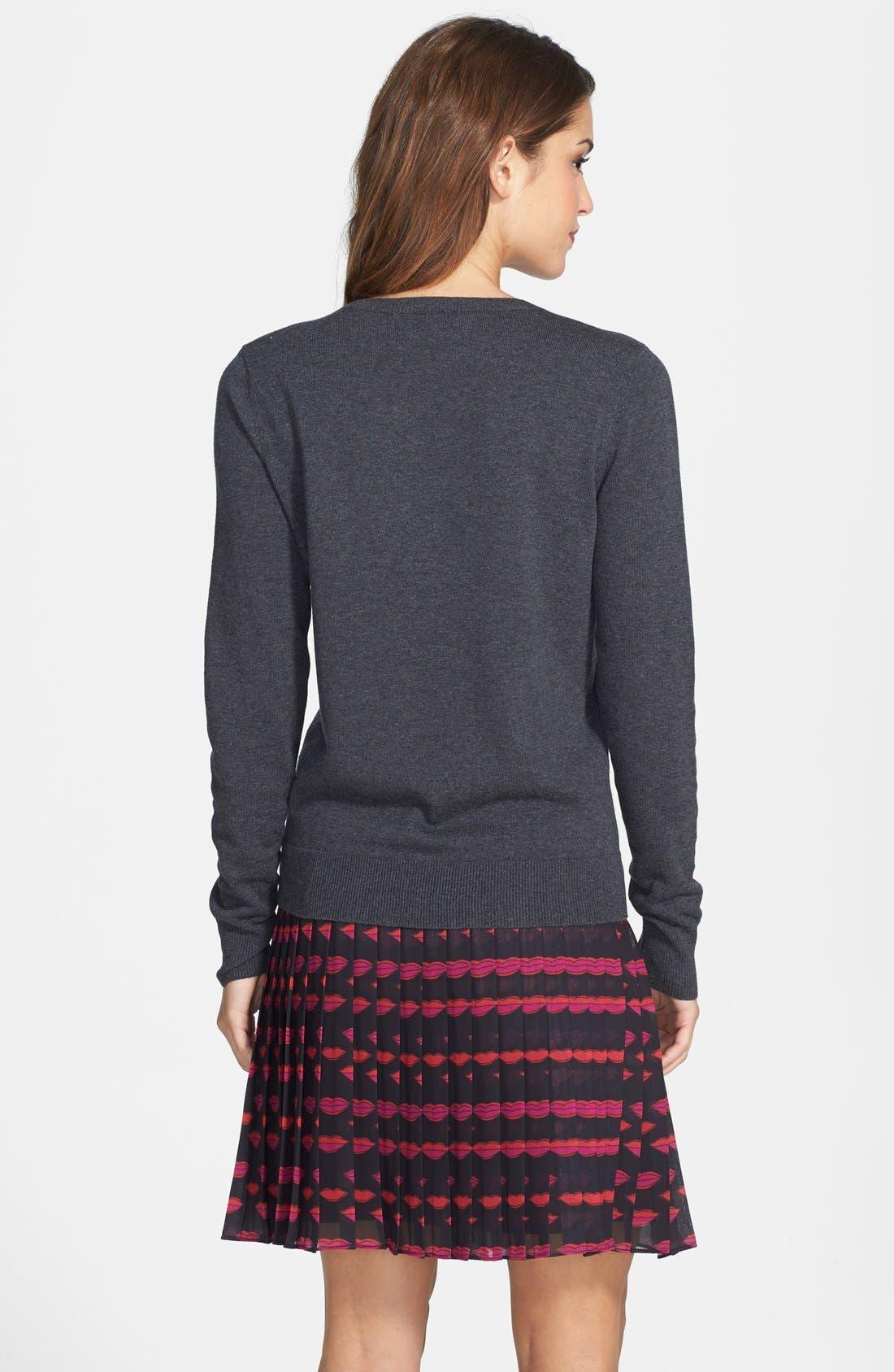 Alternate Image 2  - Halogen® 'Love' Shoulder Zip Intarsia Sweater (Regular & Petite)