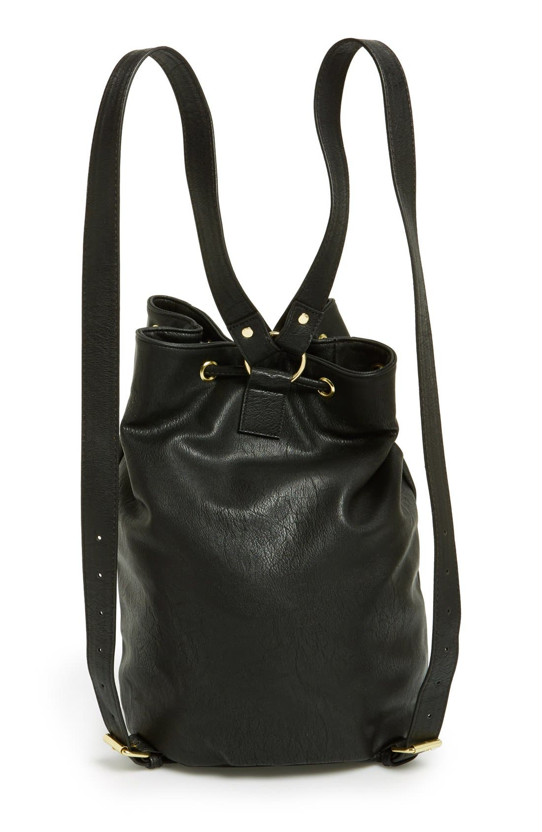 Alternate Image 4  - Lulu Faux-Leather Bucket Backpack (Juniors)