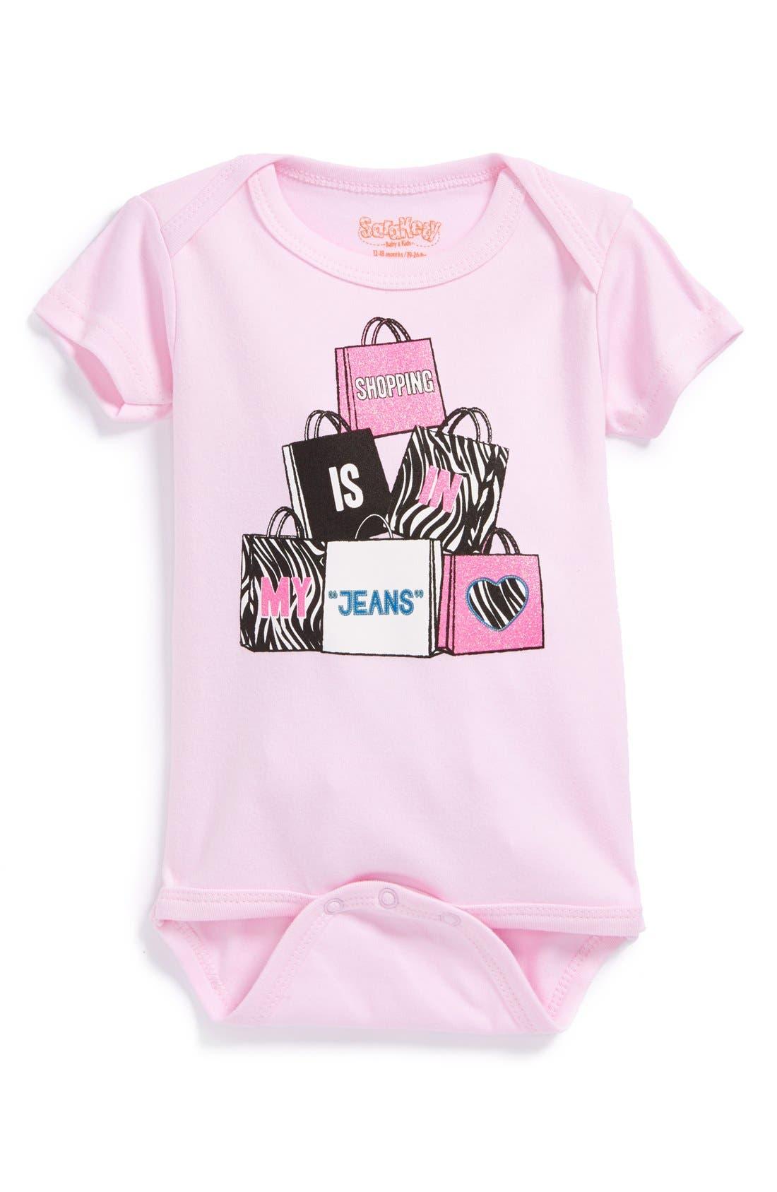 Main Image - Sara Kety Baby & Kids 'Shopping Jeans' Short Sleeve Bodysuit (Baby Girls)