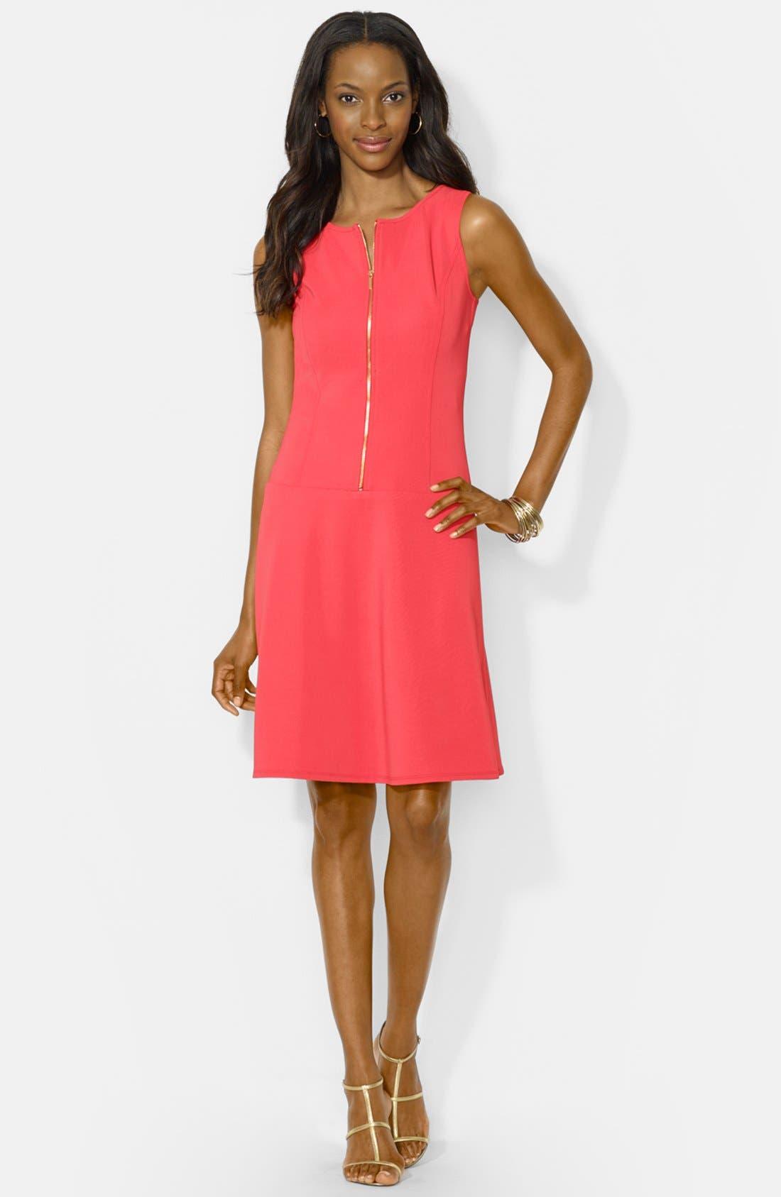 Alternate Image 3  - Lauren Ralph Lauren Front Zip Shift Dress (Petite)