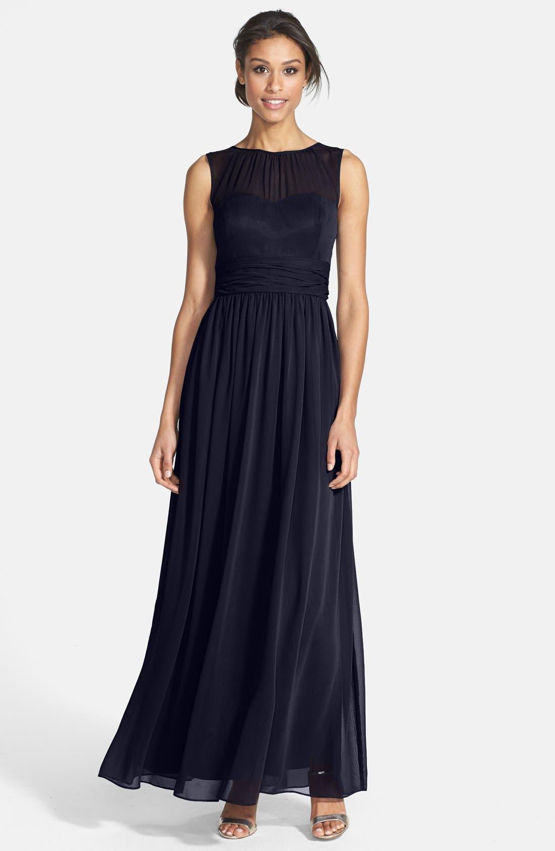Alternate Image 1 Selected - Eliza J Illusion Yoke Chiffon Gown