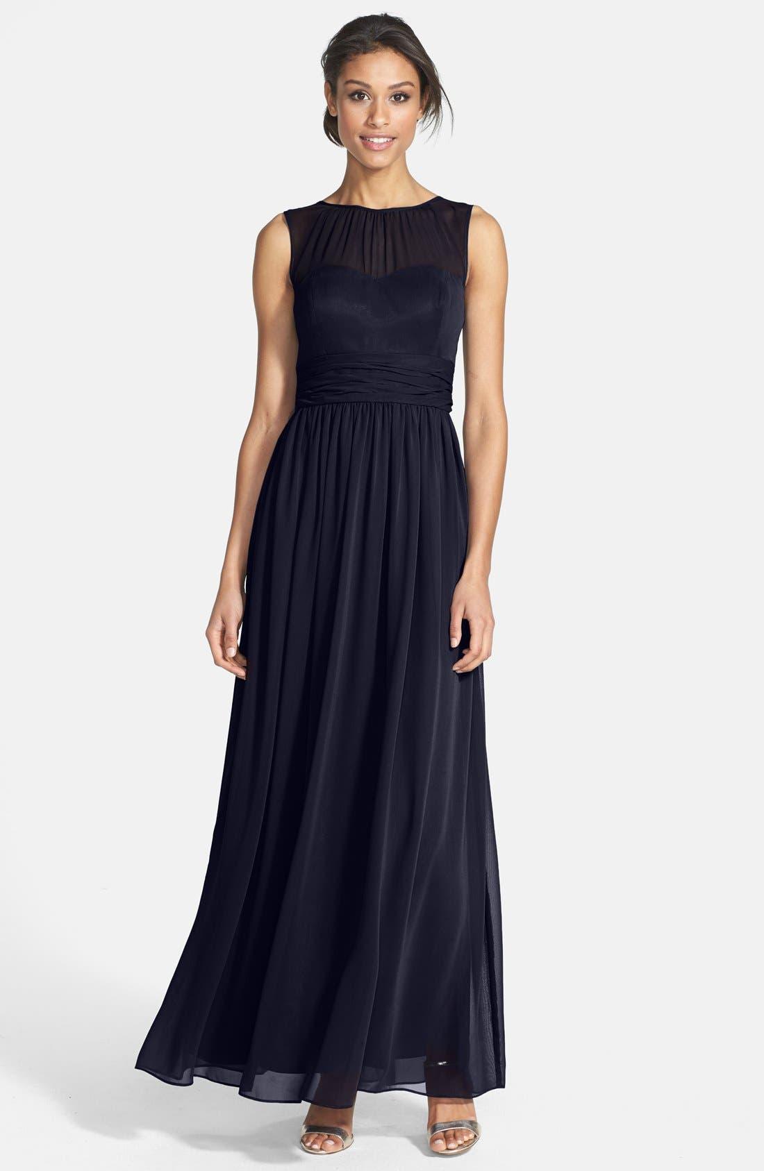 Main Image - Eliza J Illusion Yoke Chiffon Gown