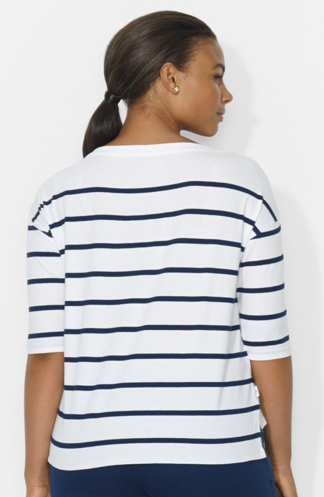 Alternate Image 2  - Lauren Ralph Lauren Stripe Drop Shoulder Top (Plus Size)