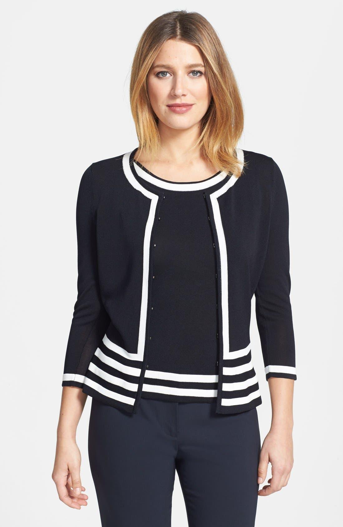 Main Image - BOSS Contrast Stripe Knit Cardigan